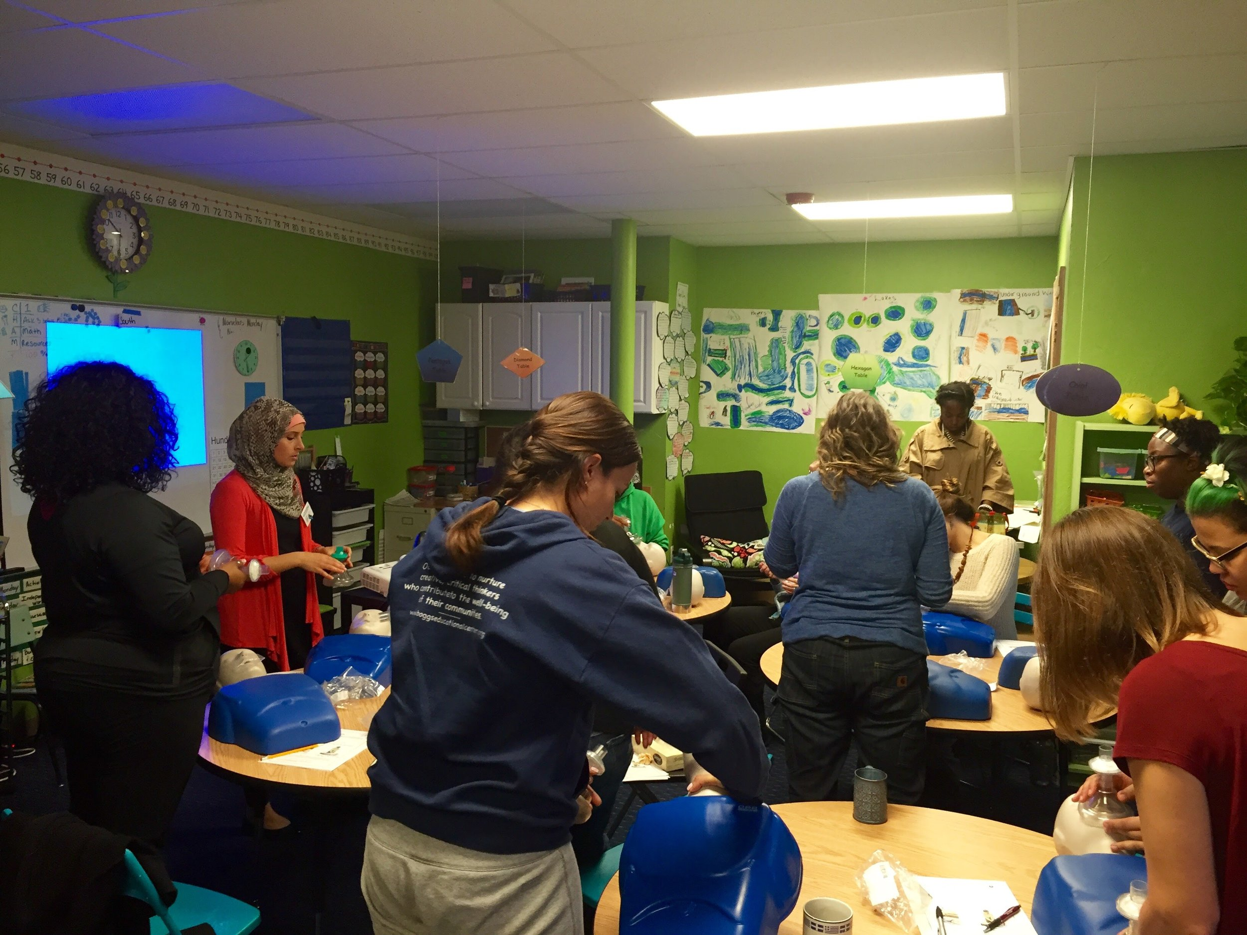 School Teachers Learn CPR and First Aid -