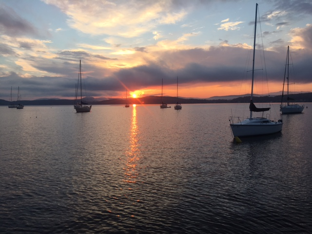 Evening in Malletts Bay on our mooring at The International Sailing center 511 Lake Shore Drive Colchester Vermont