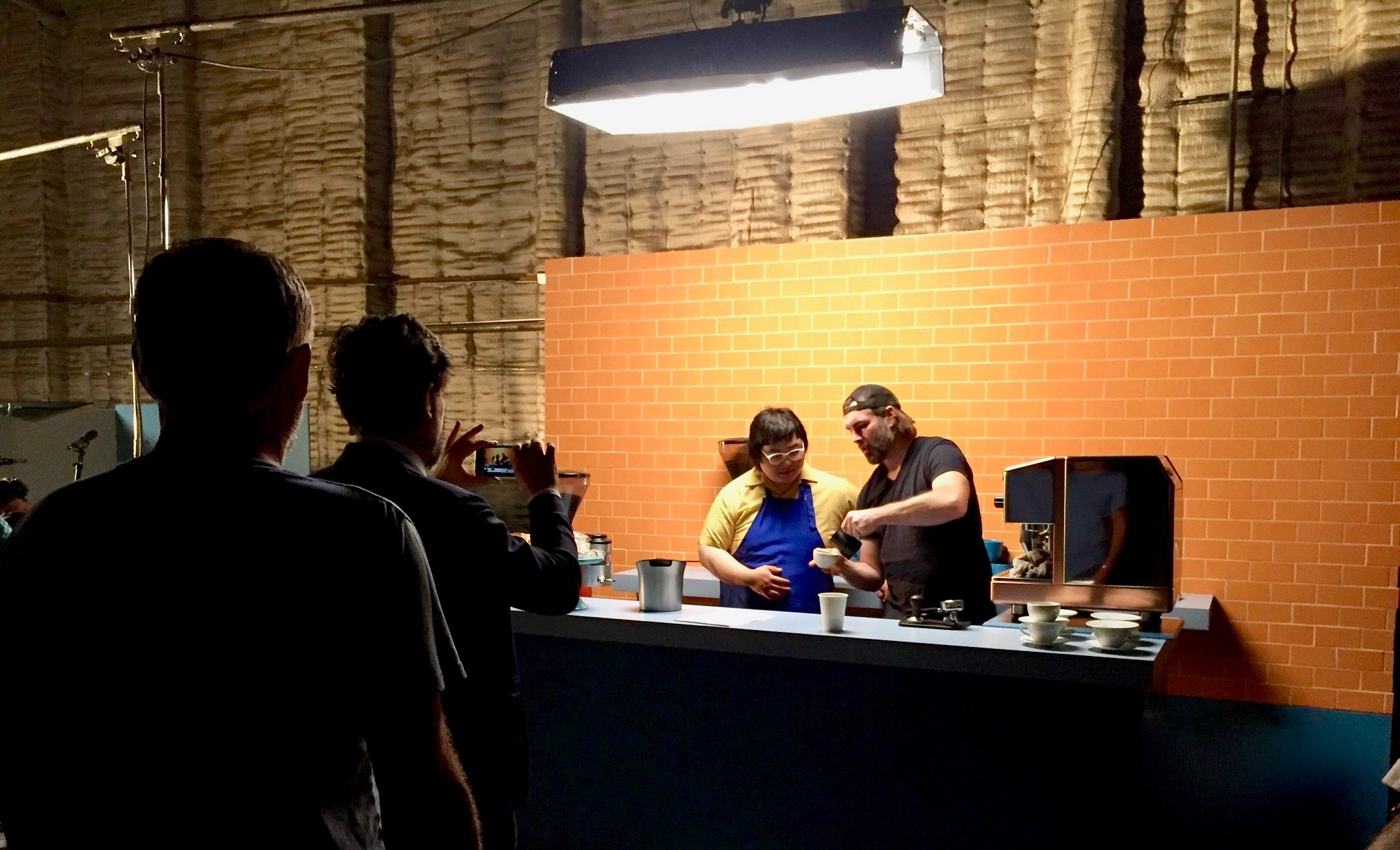 Founder, Matthew Evilsizor, barista training on the film set of a Roman Copella project in Los Angeles, CA.