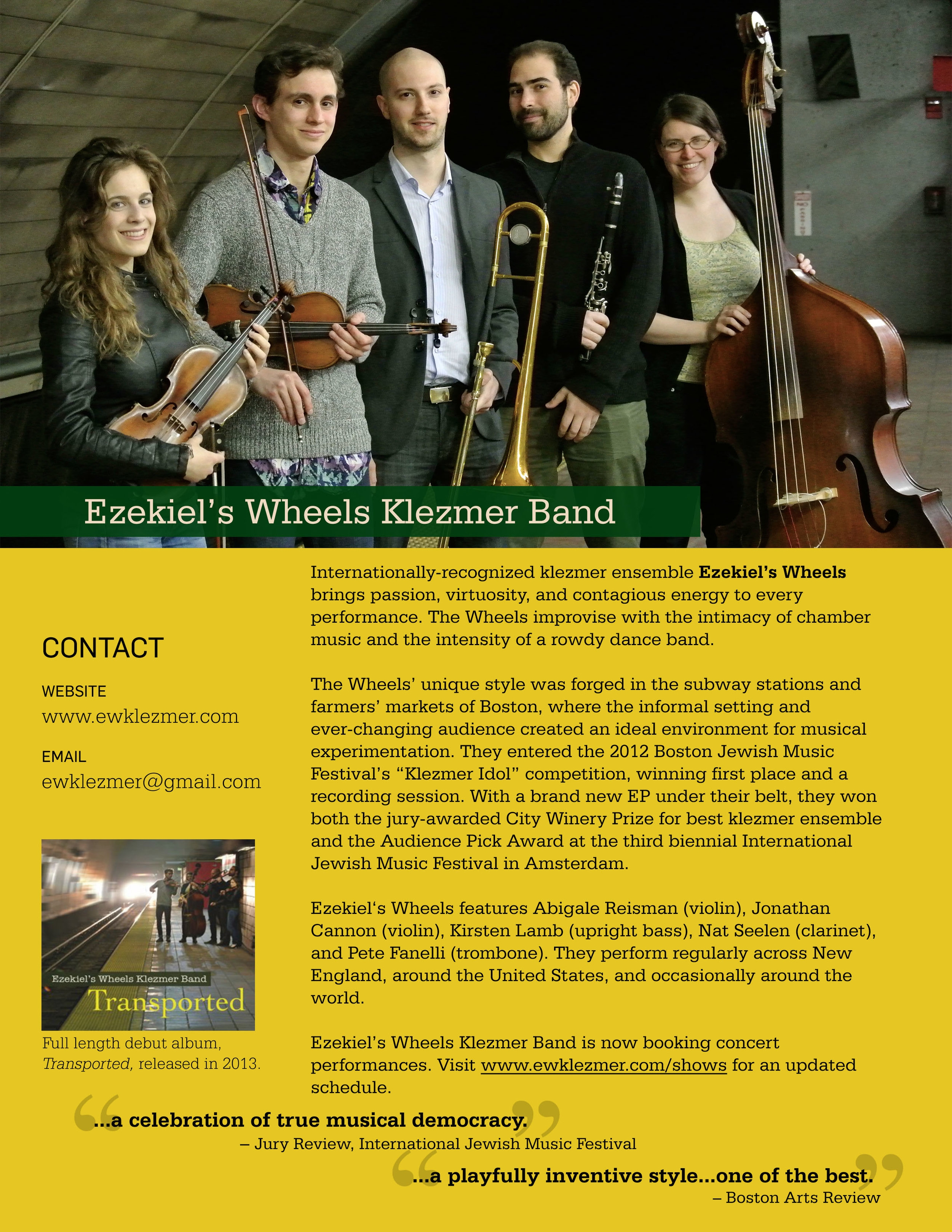 Ezekiel's Wheels Klezmer Band One-Pager