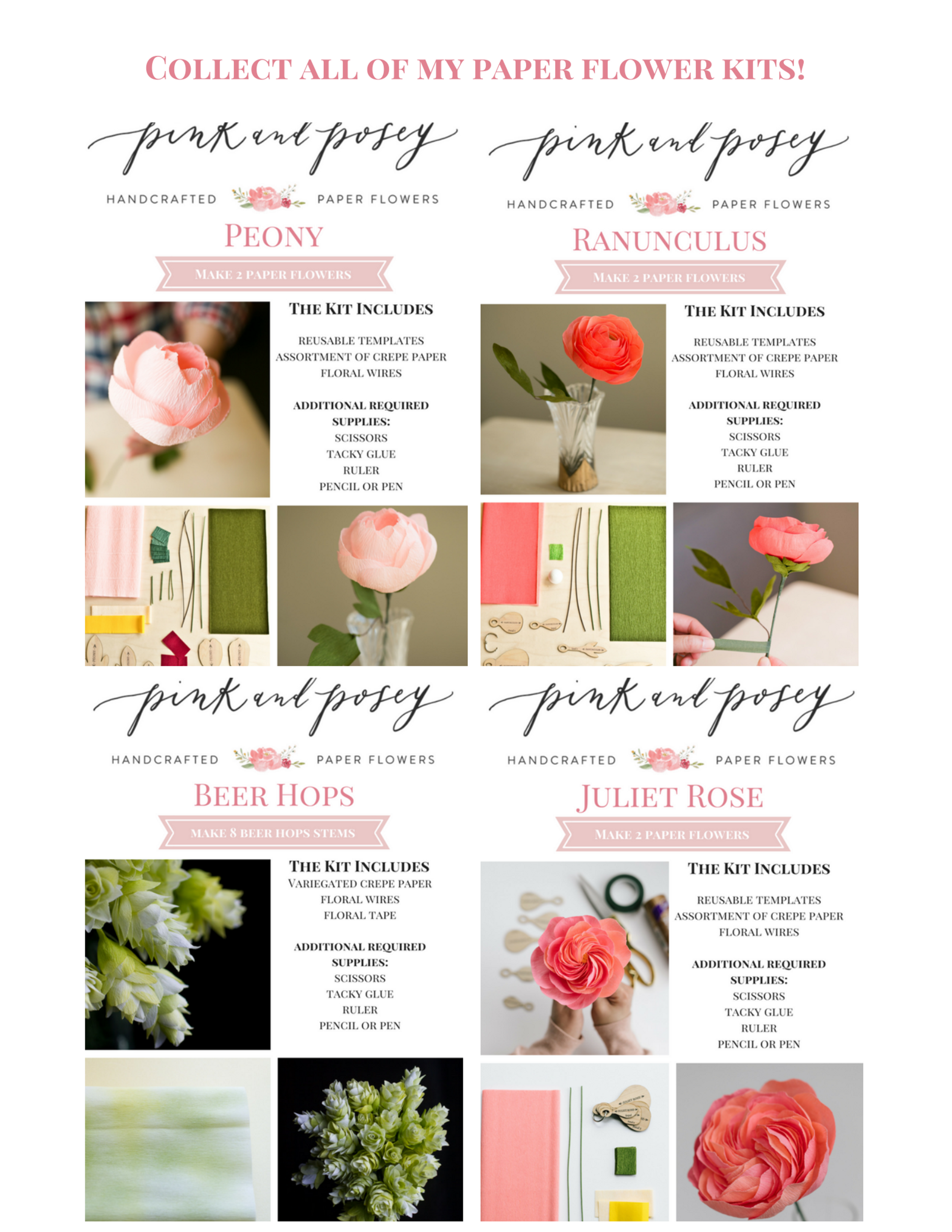 Pink and Posey Paper Flower Dahlia Kit