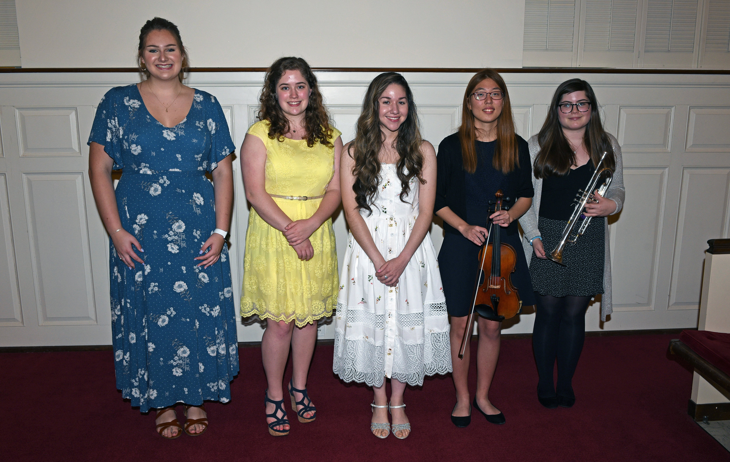 From left to right:  Molly Barclay, voice; Lynnae Eades, piano; Dominique Odens, voice; Christy Song, violin; Molly Ragon, trumpet.