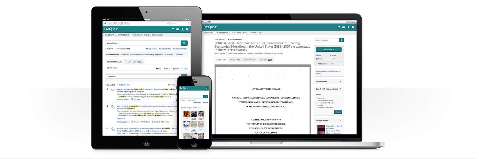 Fig. 1: ProQuest Databases, Ebooks, and Technology for Research