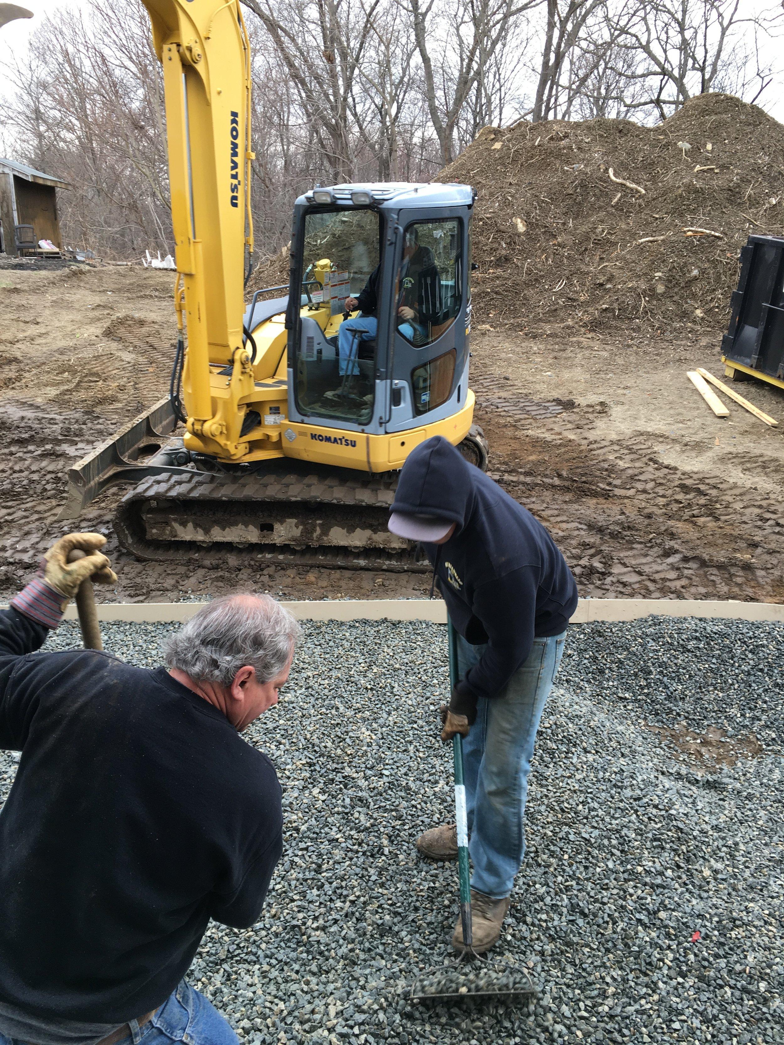 Wayne, Joe, and Jay prepping for concrete padio
