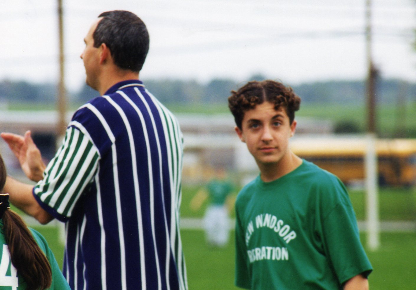 Soccer in the New Windsor Rec. League; I think my hair was a political statement