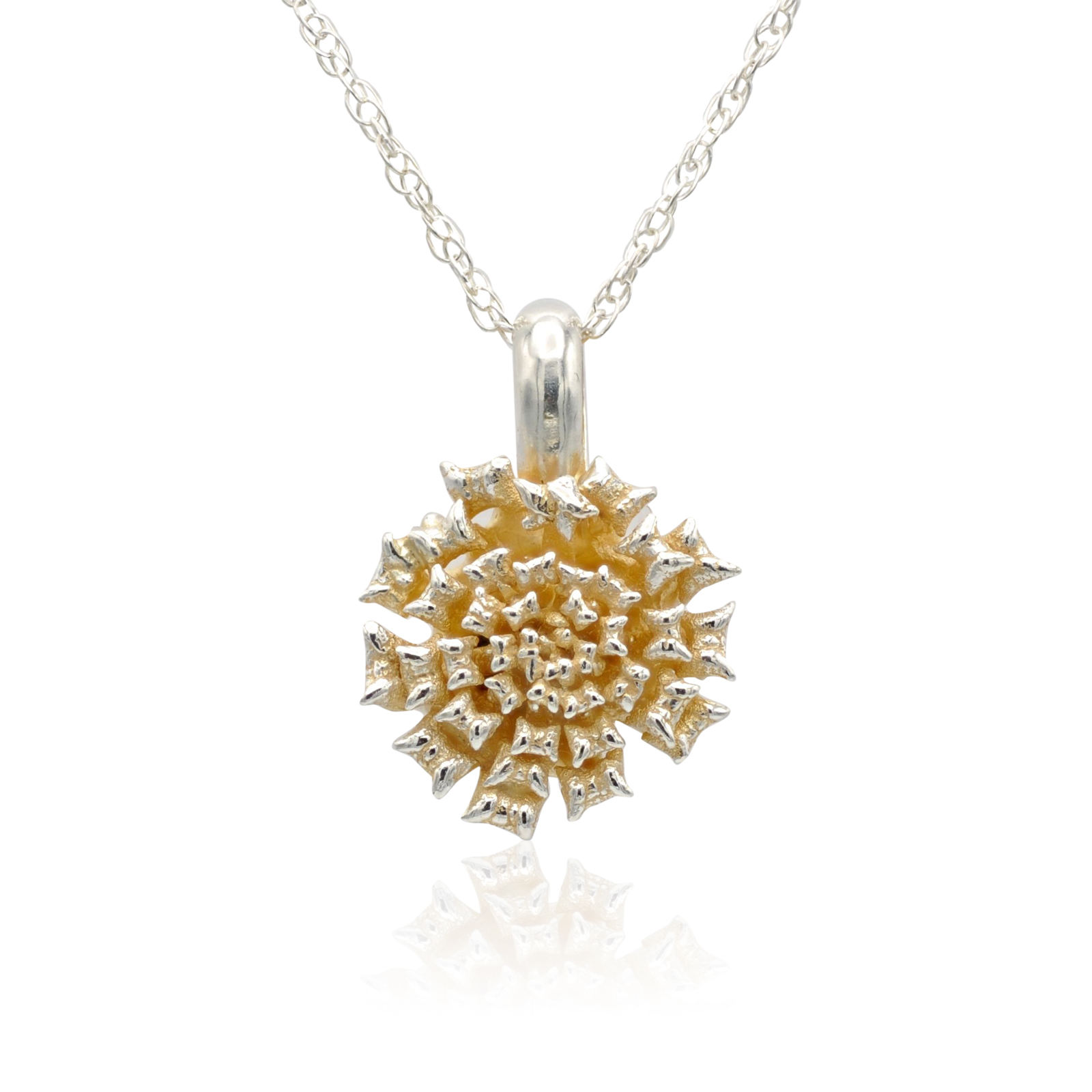 lantana flower pendant, sterling silver with 14k gold accents.jpg