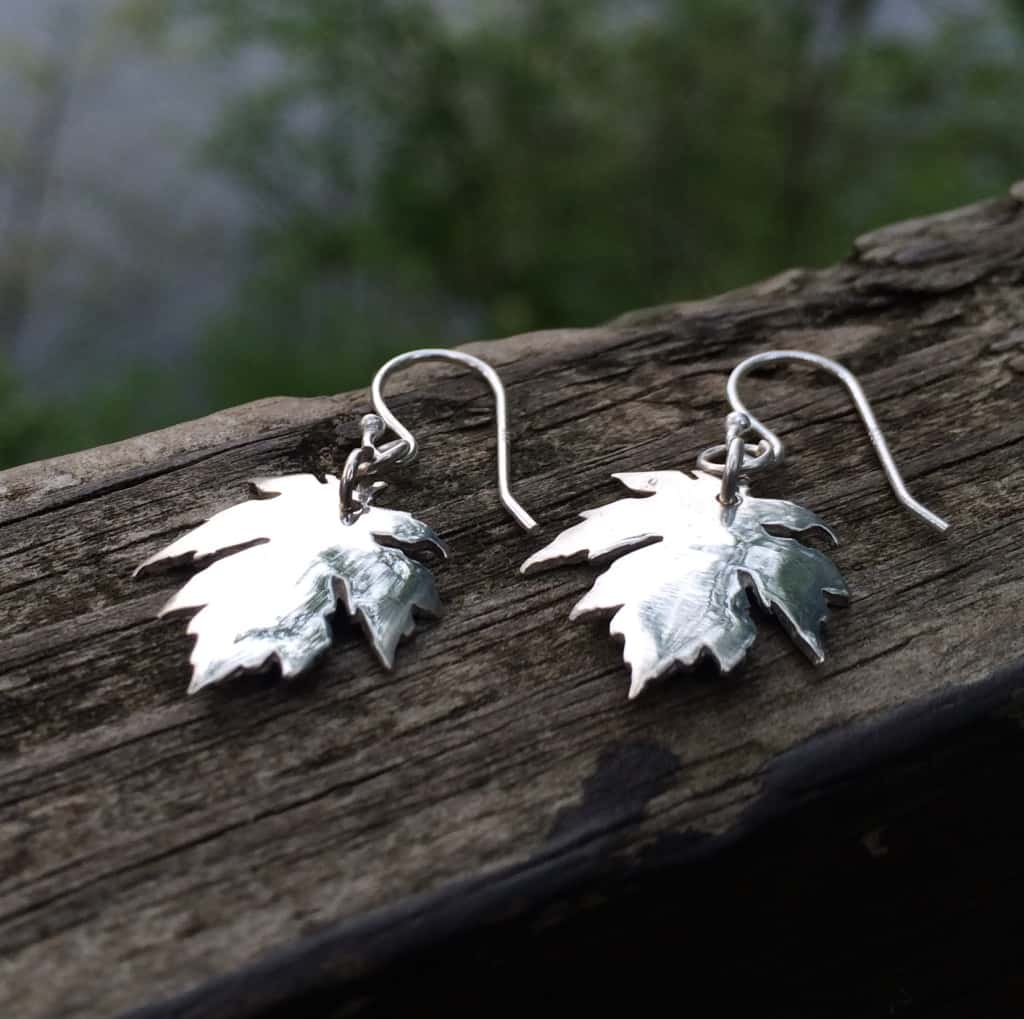 maple leaf, petite maple earrings, leaf earrings, autumn earrings, sterling silver bronze sugar maple, forest earrings.jpg