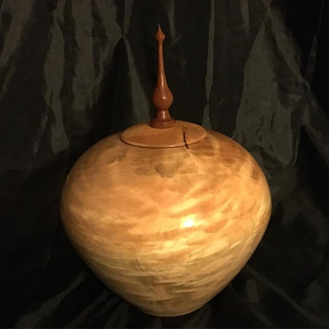 Hollow vessel maple and blood wood.  #woodturning #woodworking #handmade