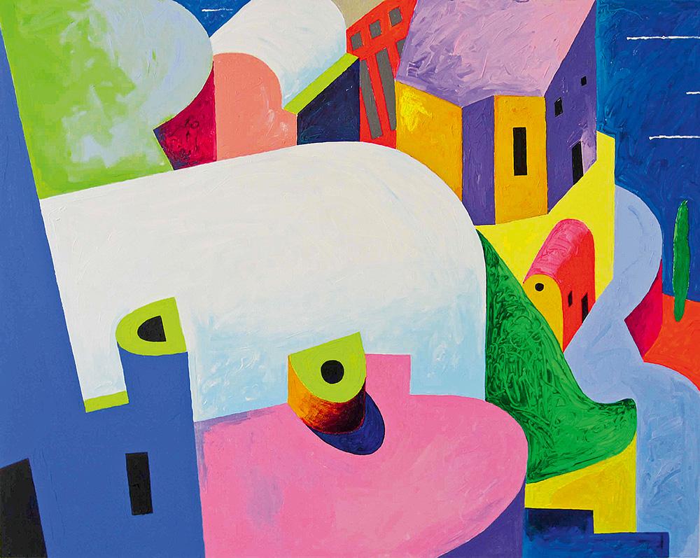 "Vilen Künnapu ""Roofs of Santorini"" Acrylic on canvas. 120 x 150 cm. 2014"
