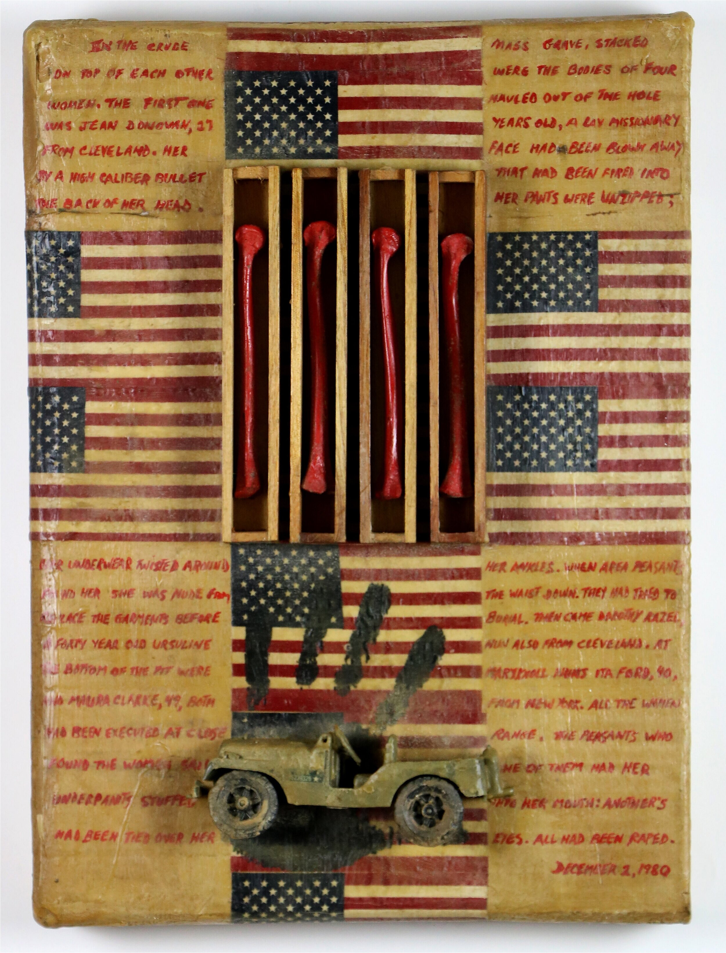 The Flag , ca. 1990  From The Jesuit Series  Mixed Media/Assemblage  16 x 20 x 2 inches   Provenance   Artist to ViCA   Exhibitions   El Salvadorean Refugee Center, 1990  William Turtle: An Undisovered Legacy, Venice Institute of Contemporary Art, 2018