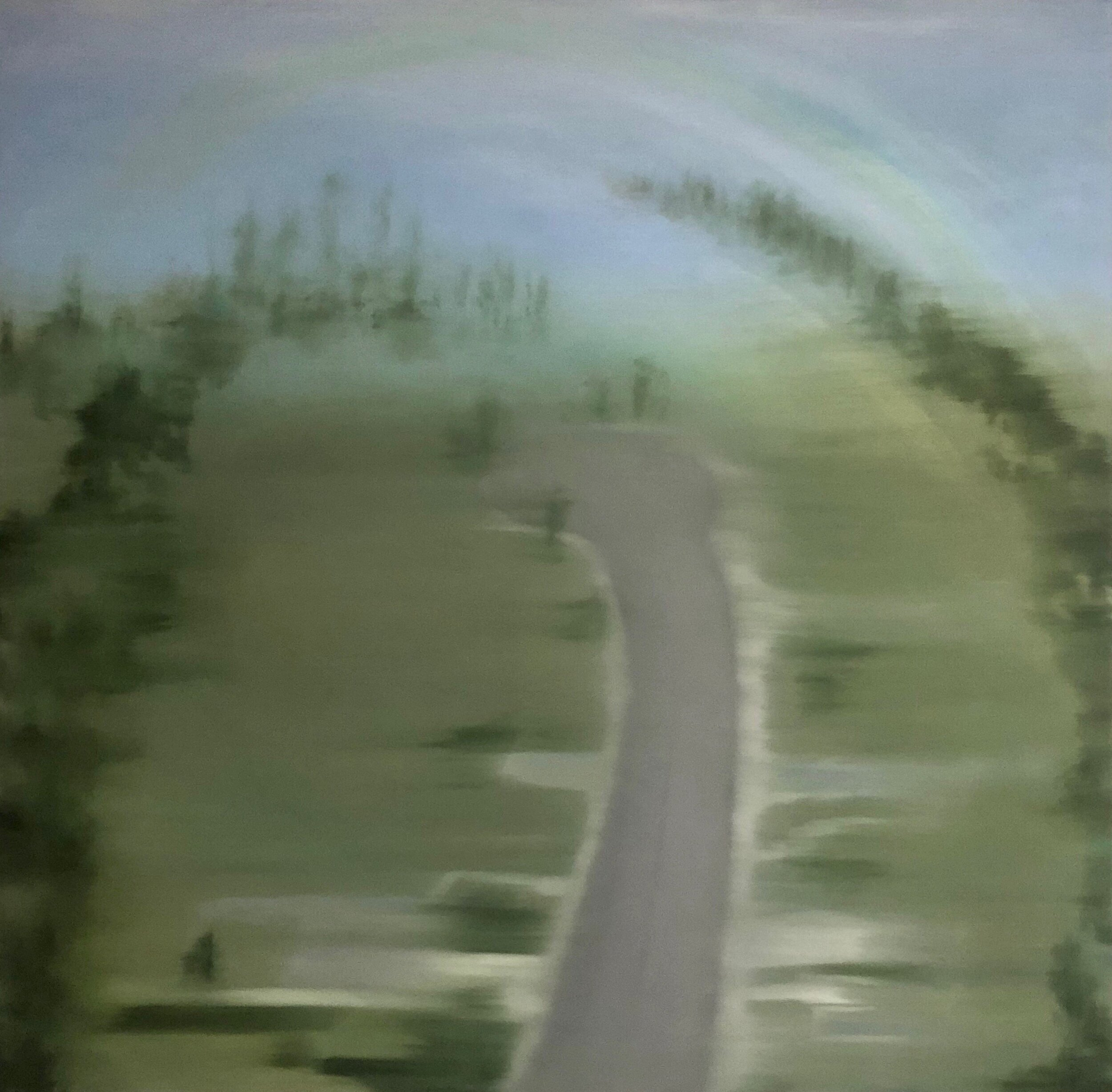 The Road to Wonder (Where) , 2018  Oil on Synthetic Canvas  50 x 50 inches  $12,800   Provenance   From Artist Studio to ViCA   Exhibitions   Far & Near, Venice Institute of Contemporary Art, 2019