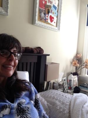 In bed with pneumonia.Fleece PJs from K-Mart.