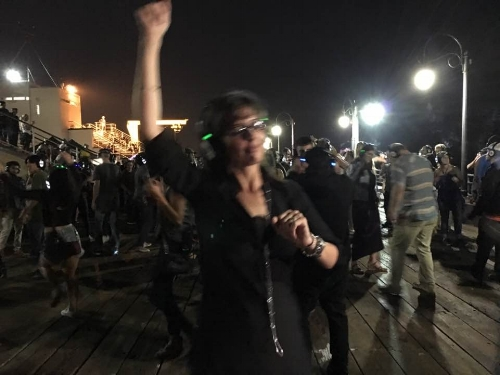 Getting down at the  Hushfest Silent Disco on the Santa Monica Pier .