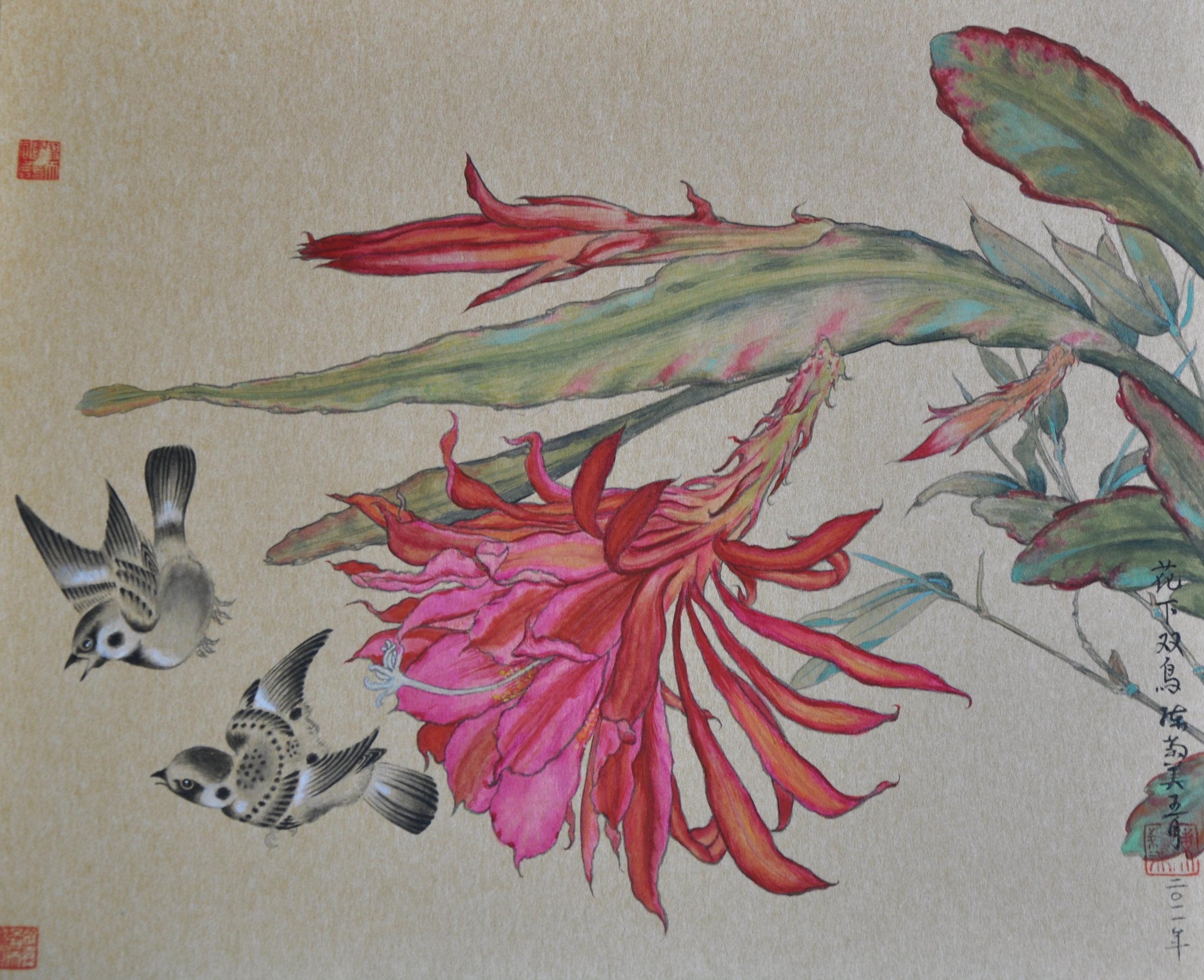 Epiphyllum-花下双鳥2.jpg
