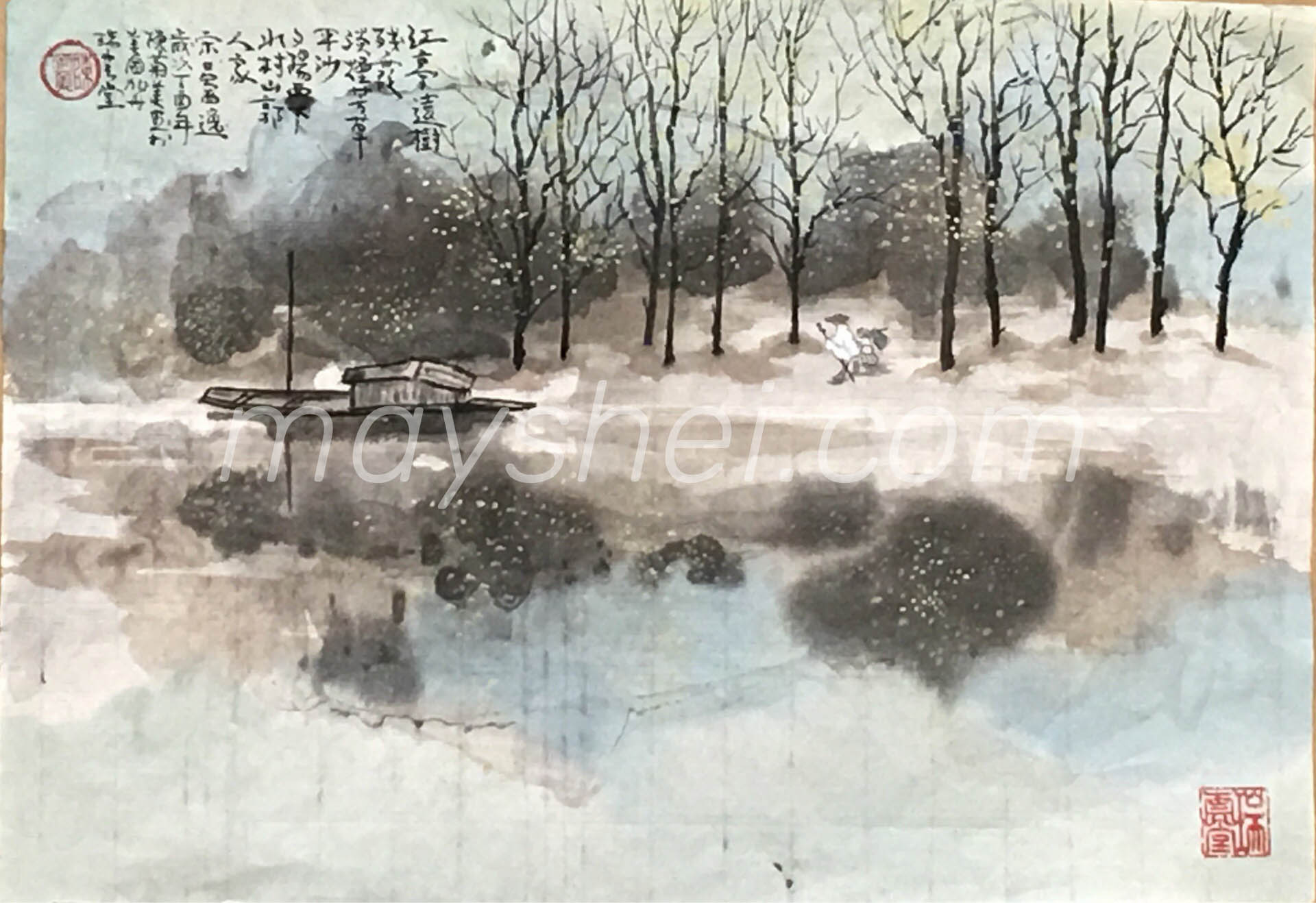 Winter River Bank, 江亭遠樹
