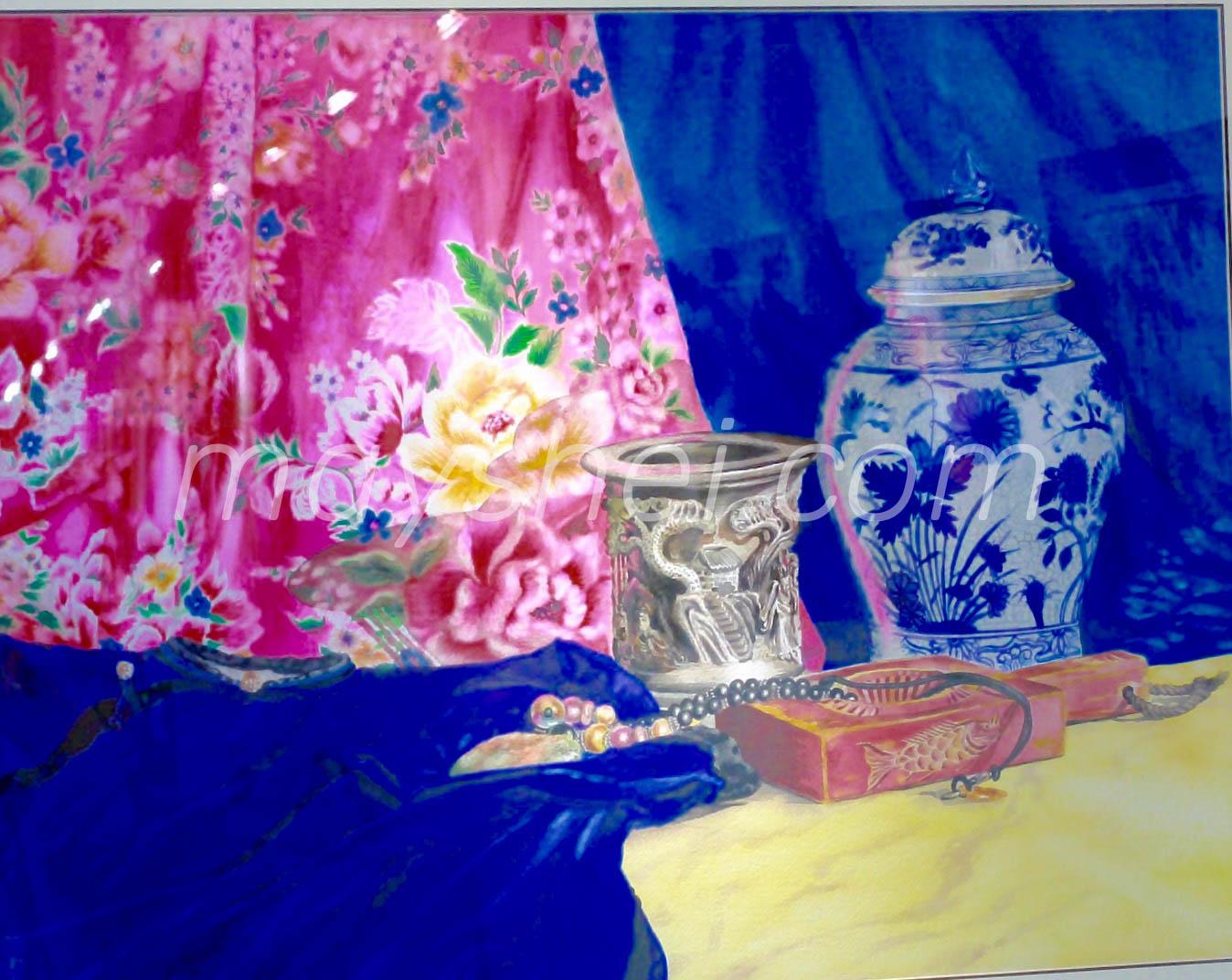 Vase & Blue Dress, 油桐花布系列-磁器藍衫圖