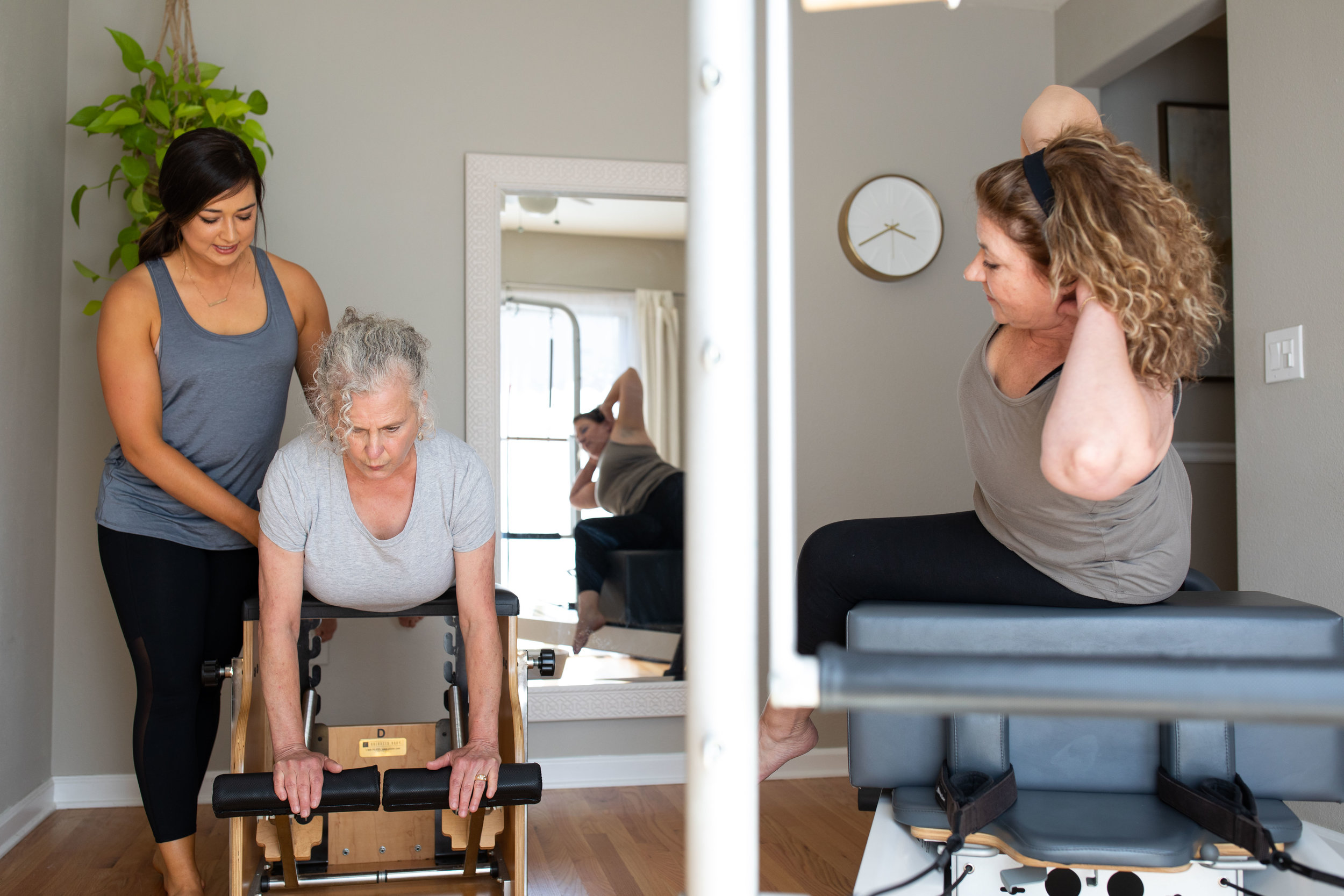 duet sessions - You and another Pilates enthusiast will receive a 55-minute session. Each session is tailored to your needs and goals while utilizing multiple Pilates equipment in order to get a well-rounded experience during your workout.