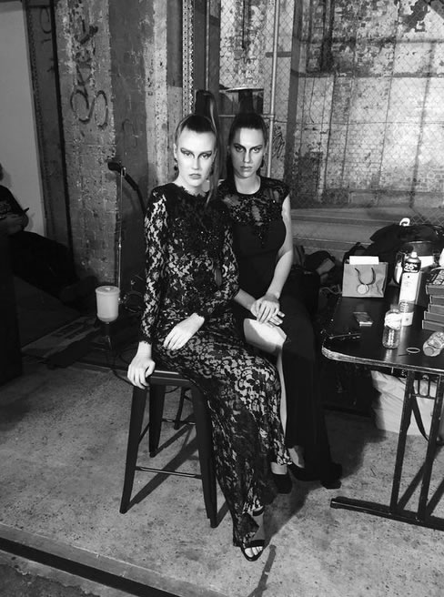Models Sarah Jehan and Shae Greentree backstage in their Lena Kasparian Gowns.