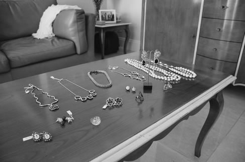 Accessories laid out for the shoot.