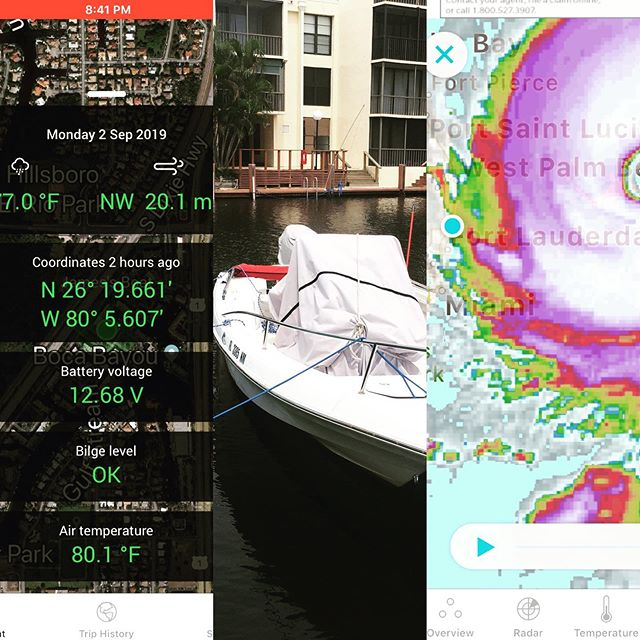 Thank you #boatconnect #simradyachting for having my boat status at the palm of my hand during #hurricanedorian .  #simrad #angrybeaver #simradelectronics #seafoxboats #seafox #jamesmcentee #dorian #saltlife #boaters #tech #bocaraton