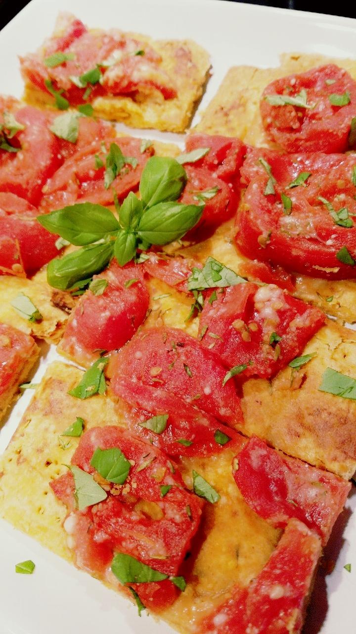 Tomato-Basil Bars on a Parmesan and Smoked Paprika Crust