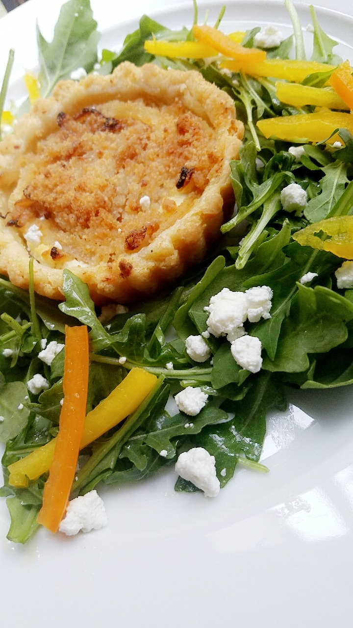 Caramelized Onion and Goat Cheese Tart with Arugula tossed in Lemon Vinaigrette