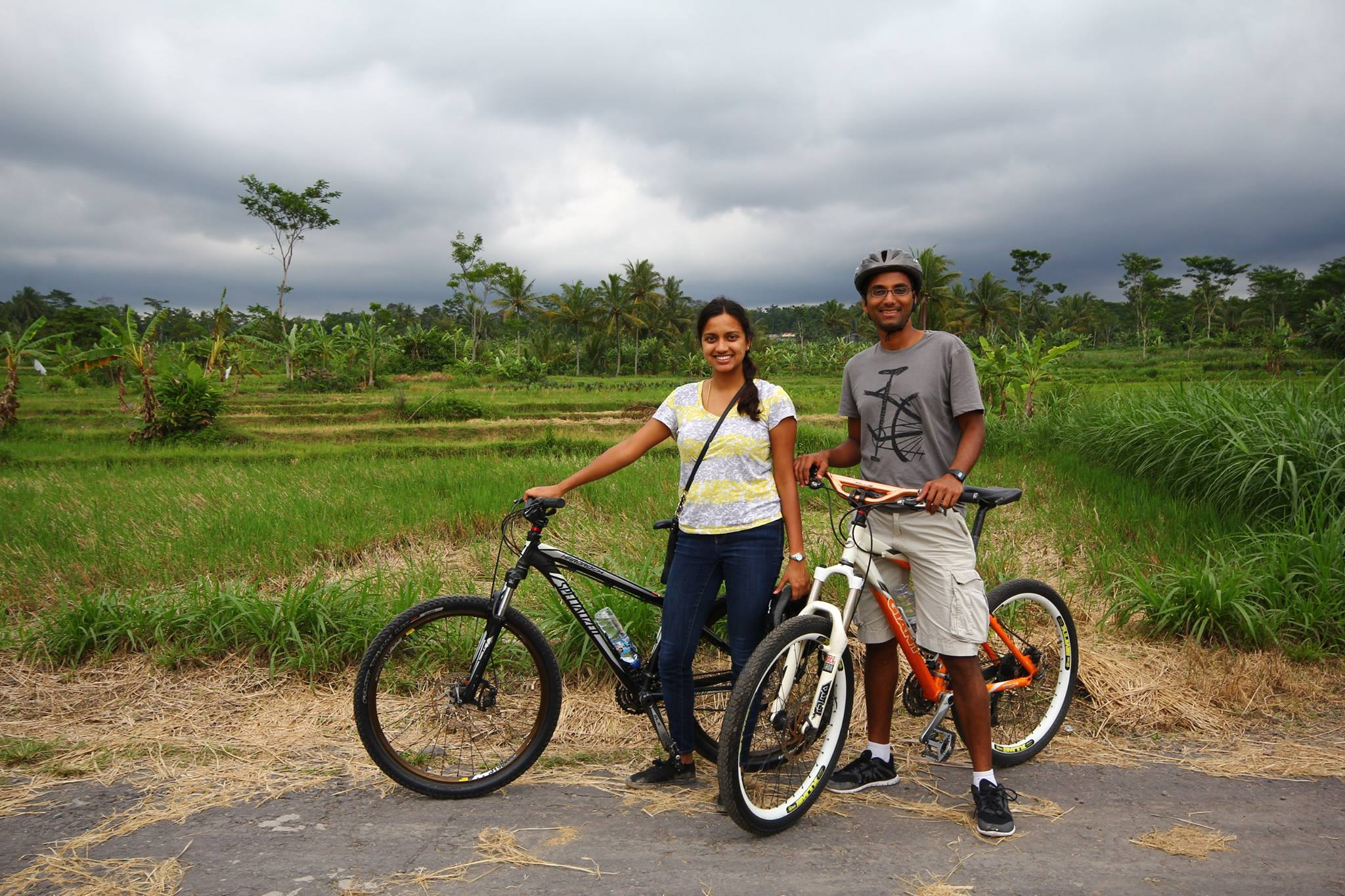 Cycling through the rice fields and villages of Java, Indonesia