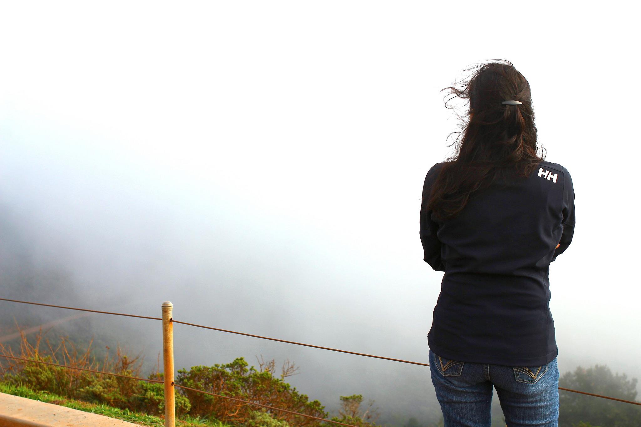 Mrs. FH in Marin Headlands admiring  Karl the Fog