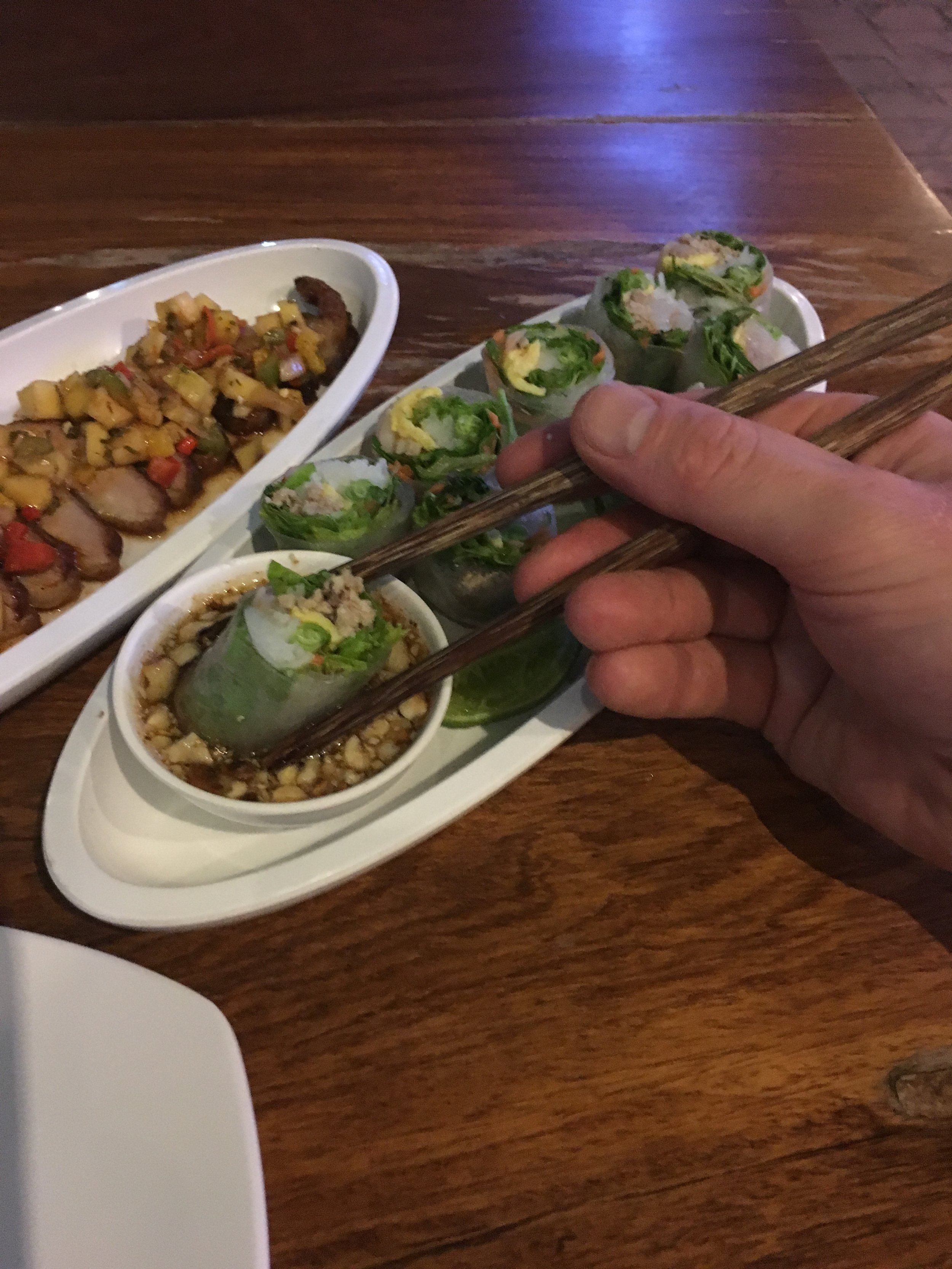 Fresh spring rolls with sweet, peanut dipping sauce