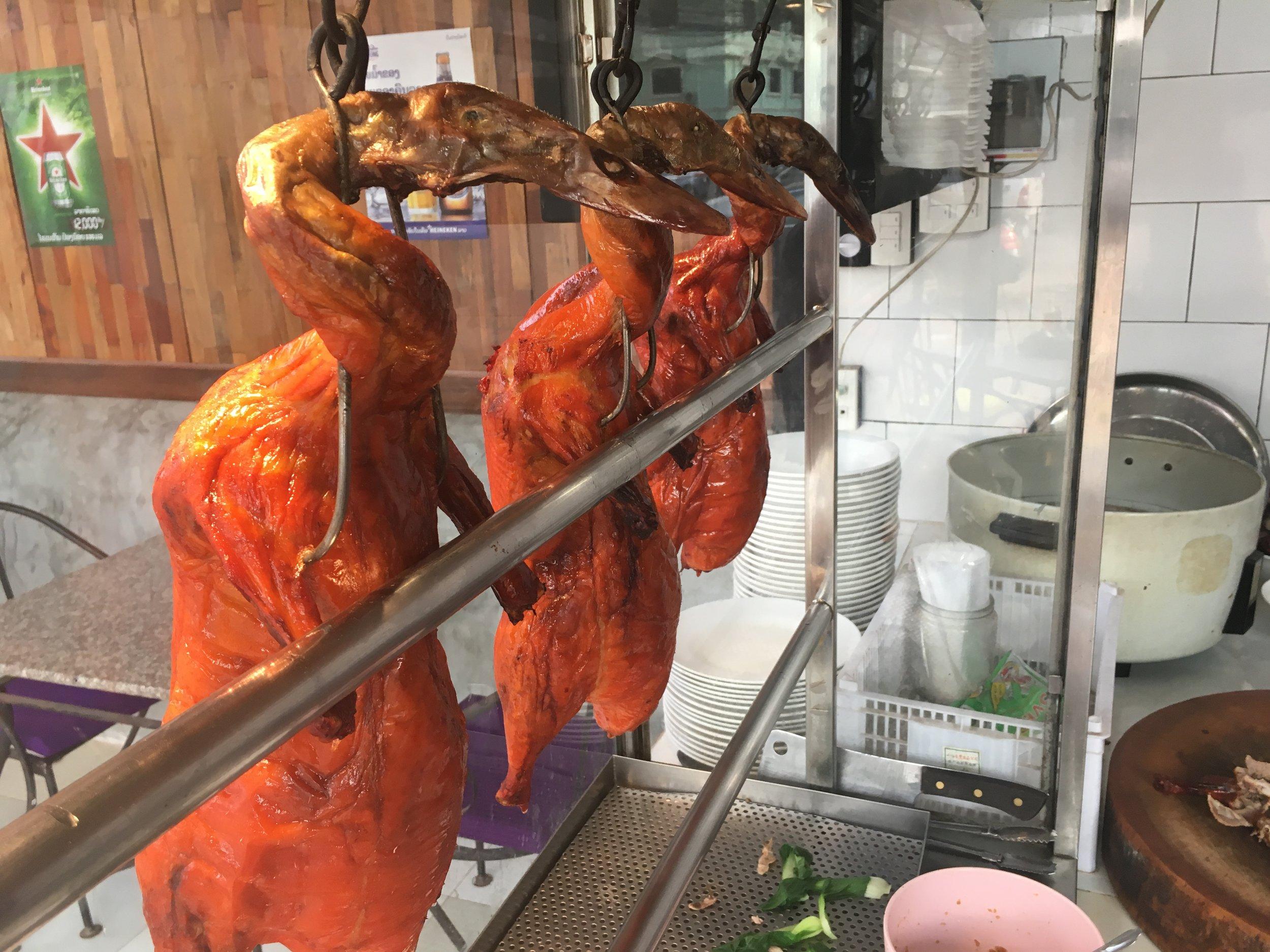 Hanging roast duck at Sa la van restaurant.
