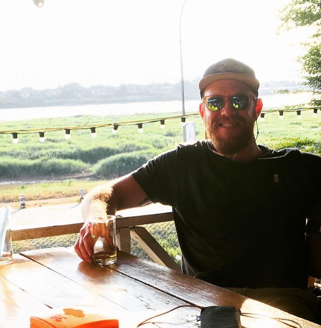 Beer o'clock overlooking the Mekong