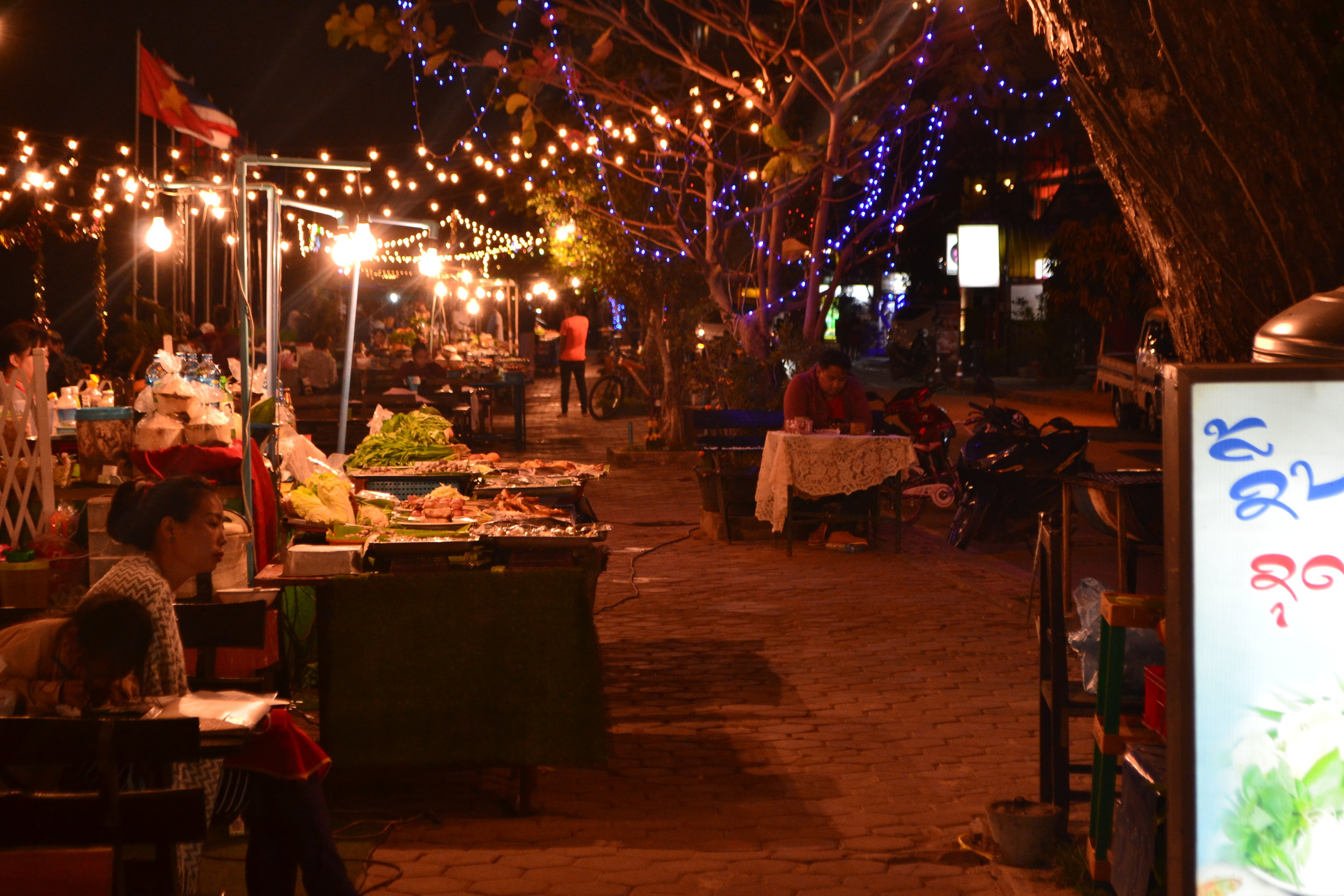 Food stalls along the Mekong River, Vientiane
