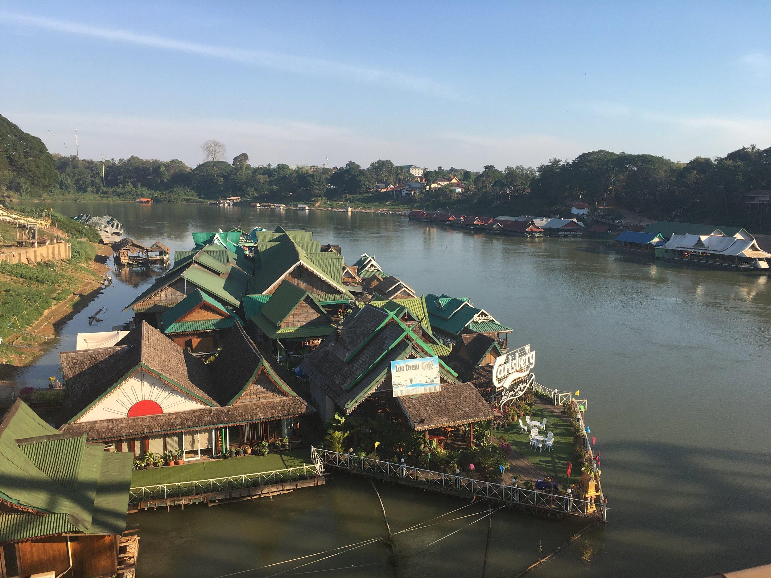 Floating restaurants in the sleepy Tha Ngon