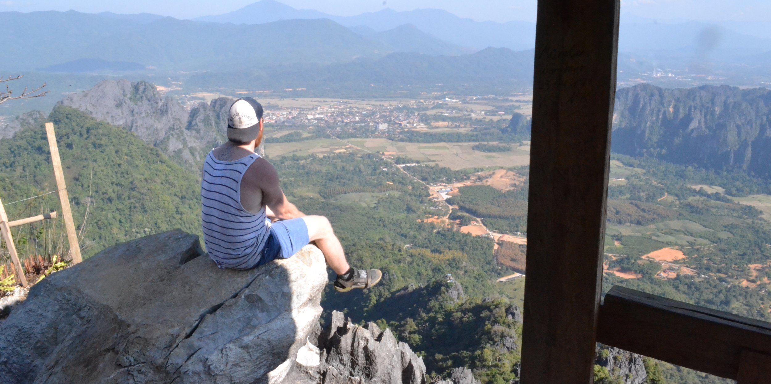 Views from Pha Ngeun mountain over looking Vang Vieng. Trying to over come my fear of heights.