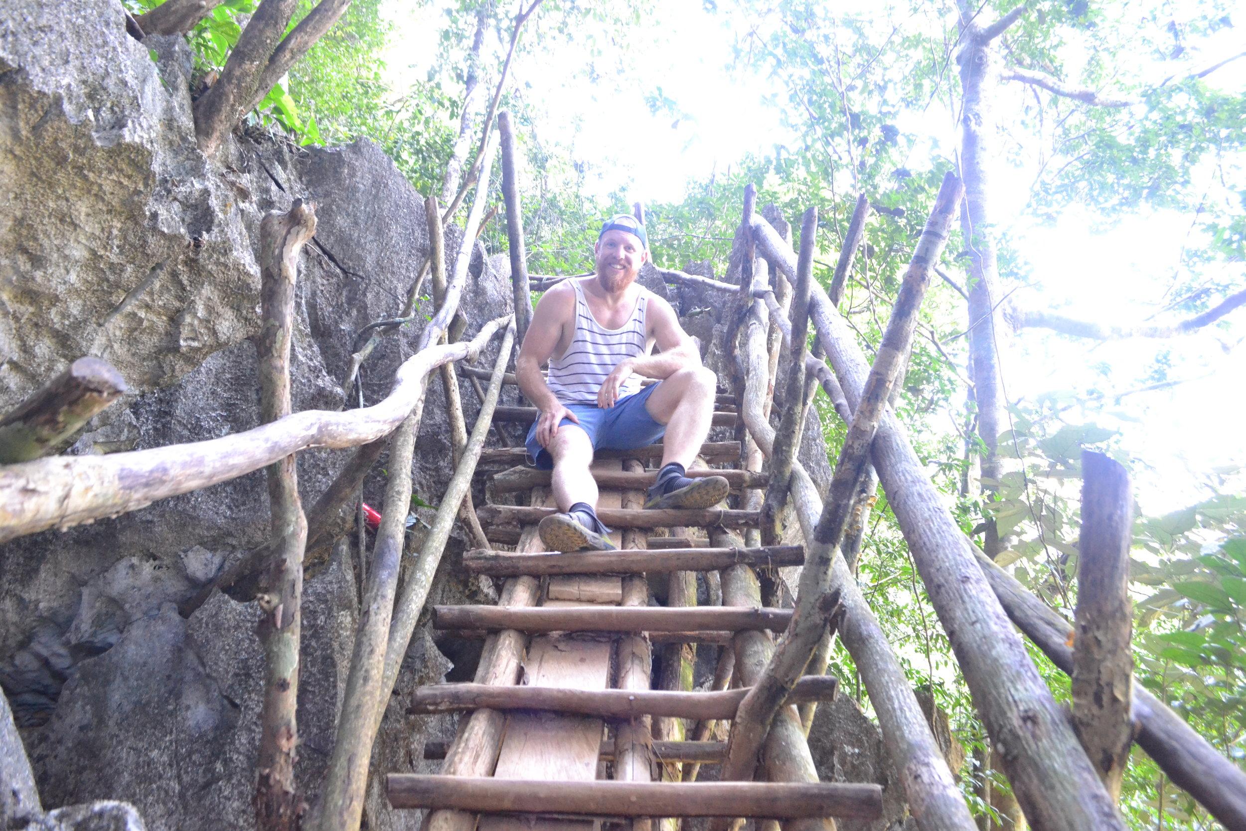 A precarious looking ladder on Pha Ngeun