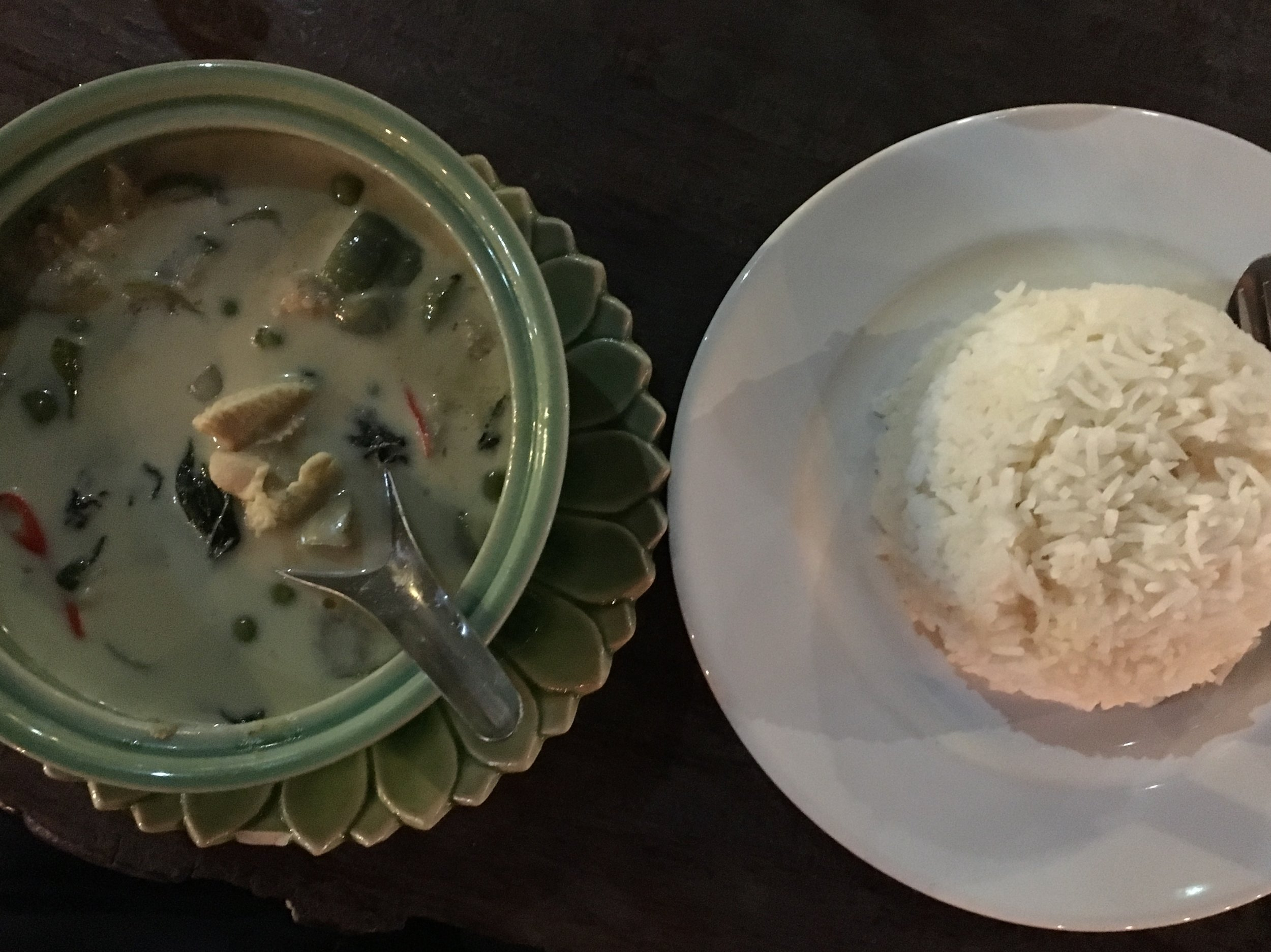 8. Thai green curry with steamed rice
