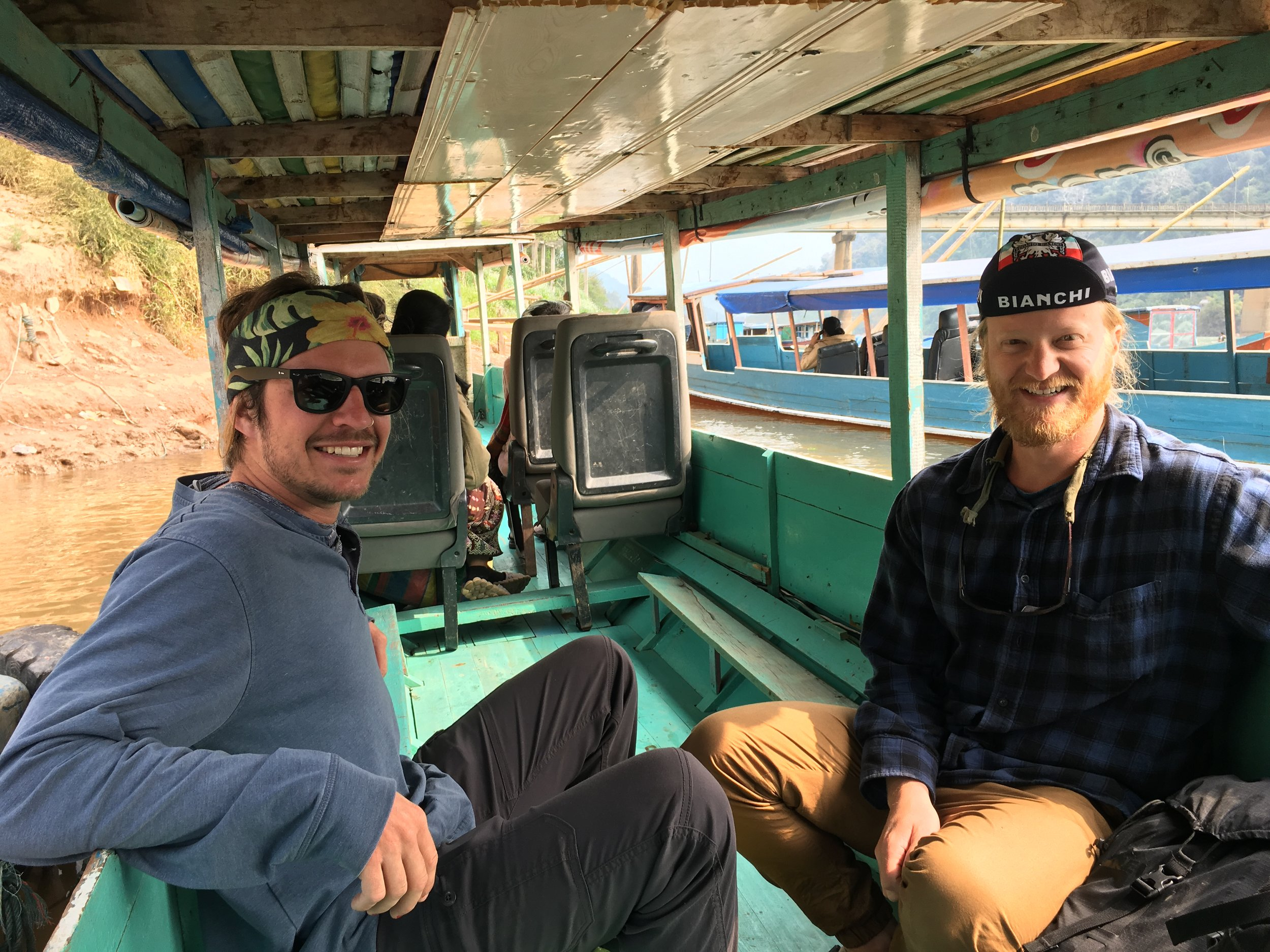Christian and Mike ready to get up close and personal with the locals on this cramped, slowly sinking boat