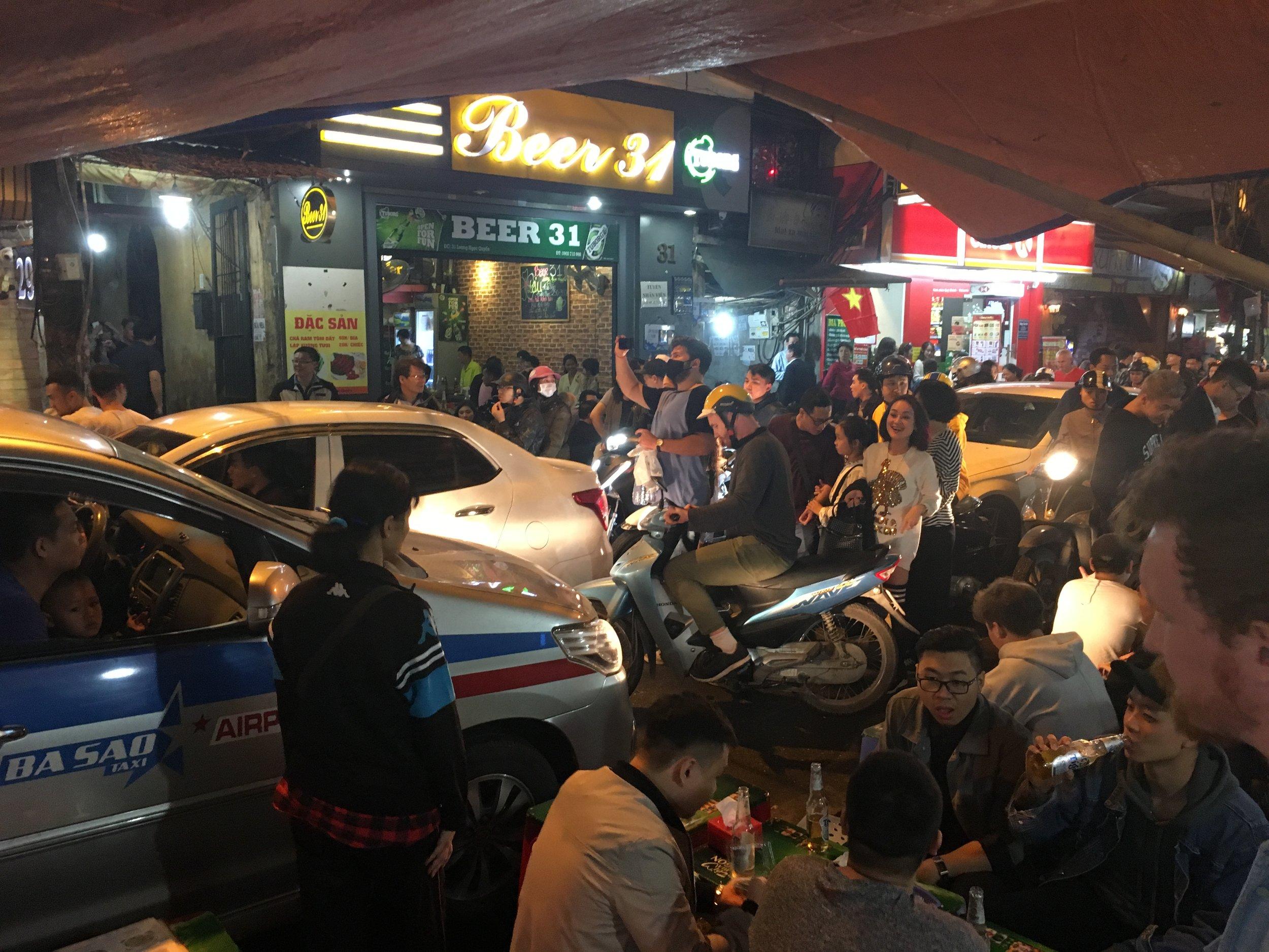 Gridlocked street in Hanoi Old Quarter