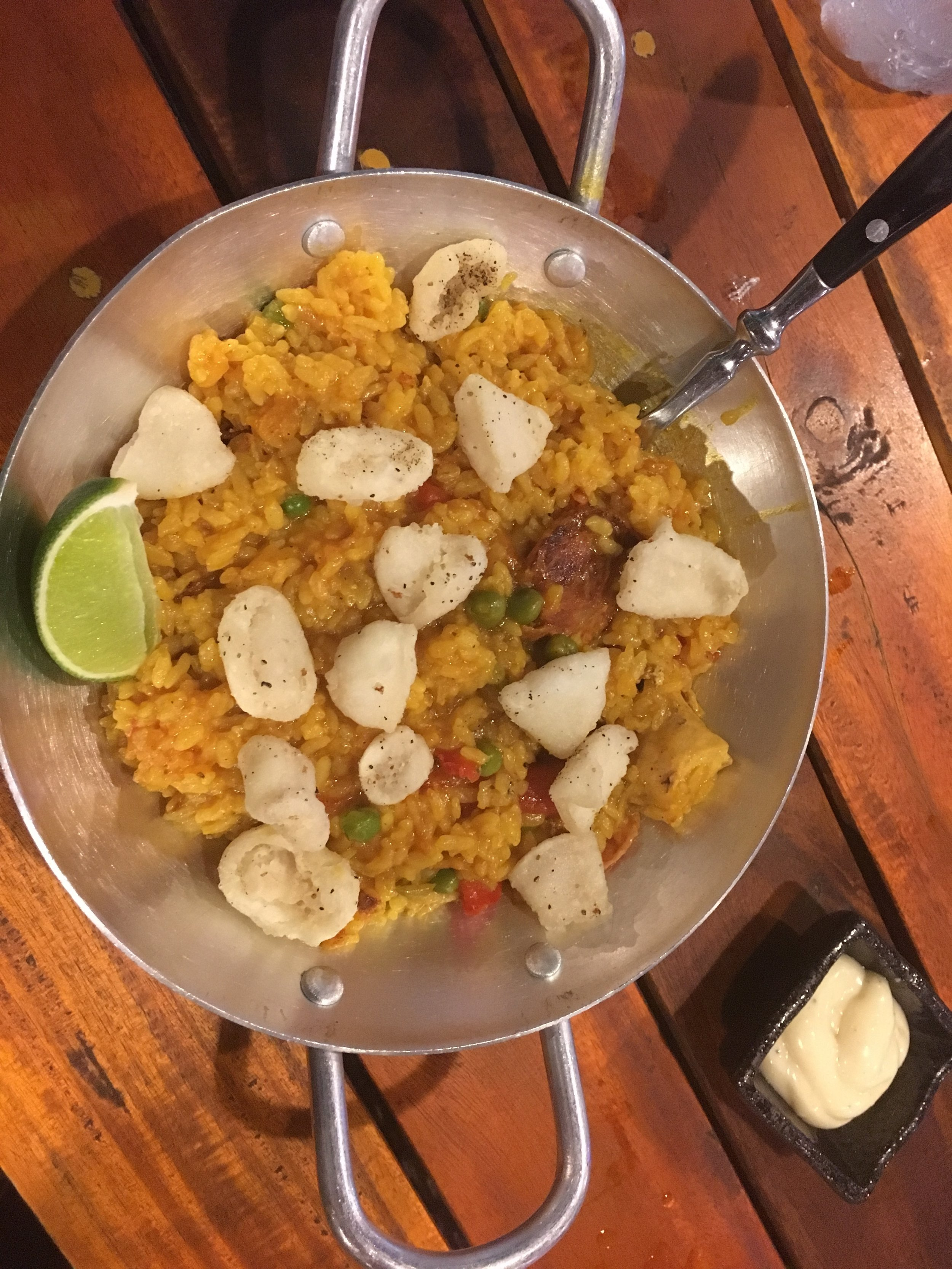 JJ's paella with salt and chilli squid