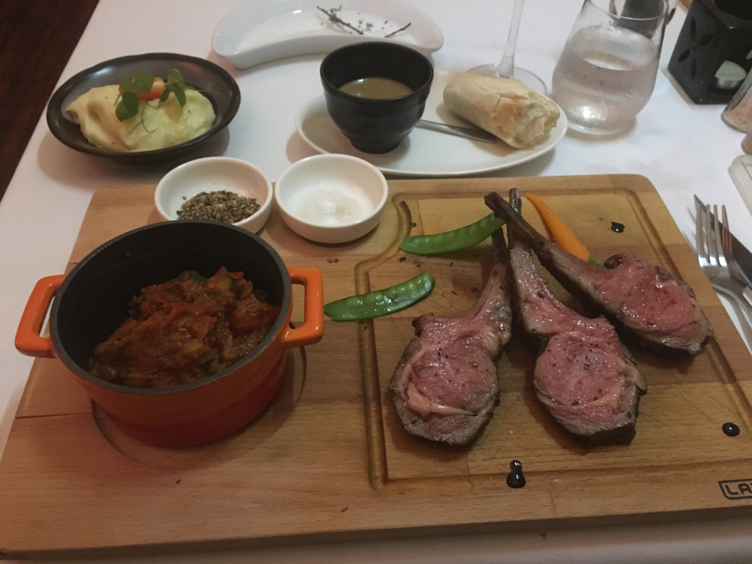 French Restaurant - Roast rack of lamb with ratatouillie