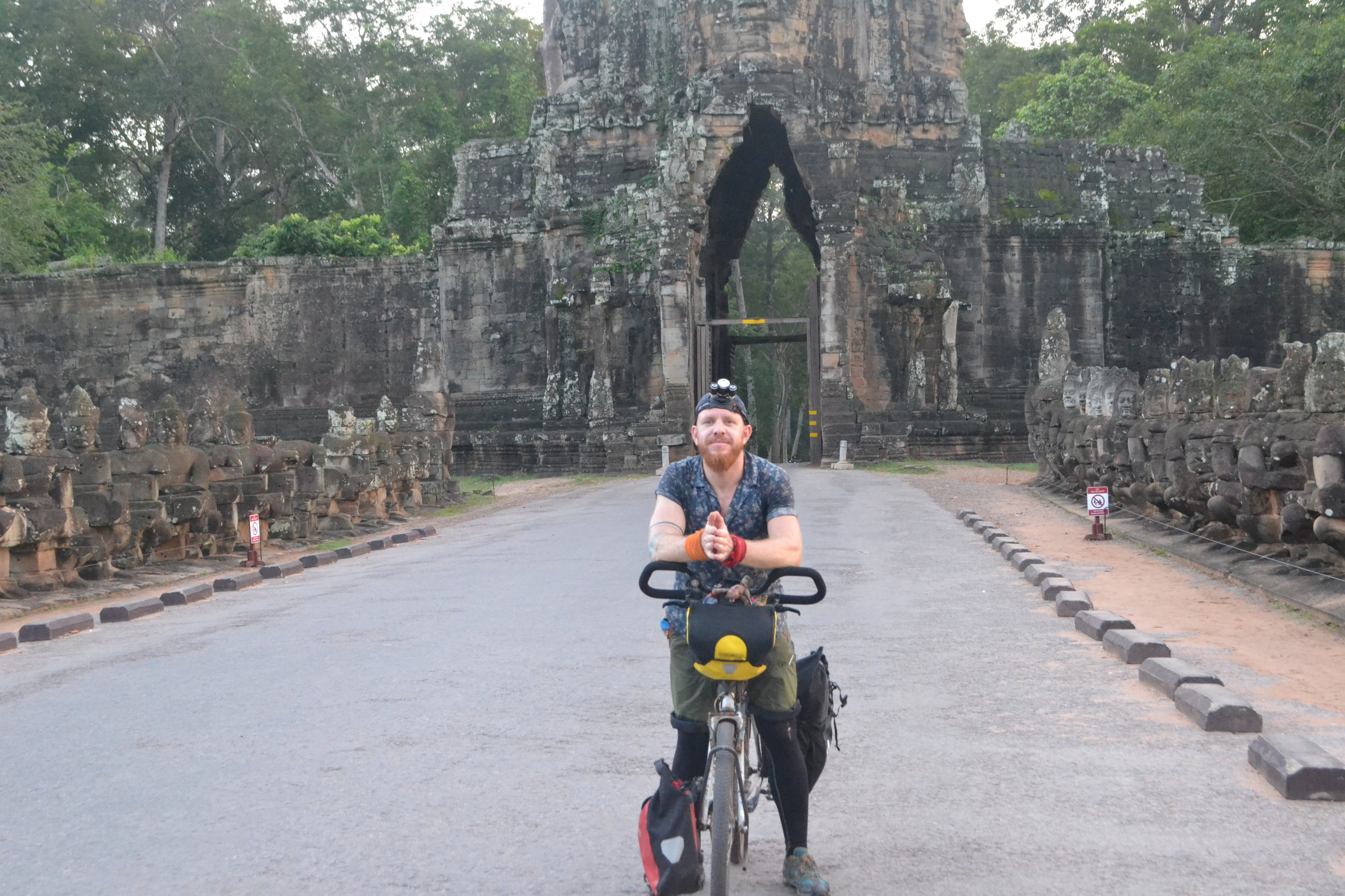 Arriving at Angkor Thom, head torch still on
