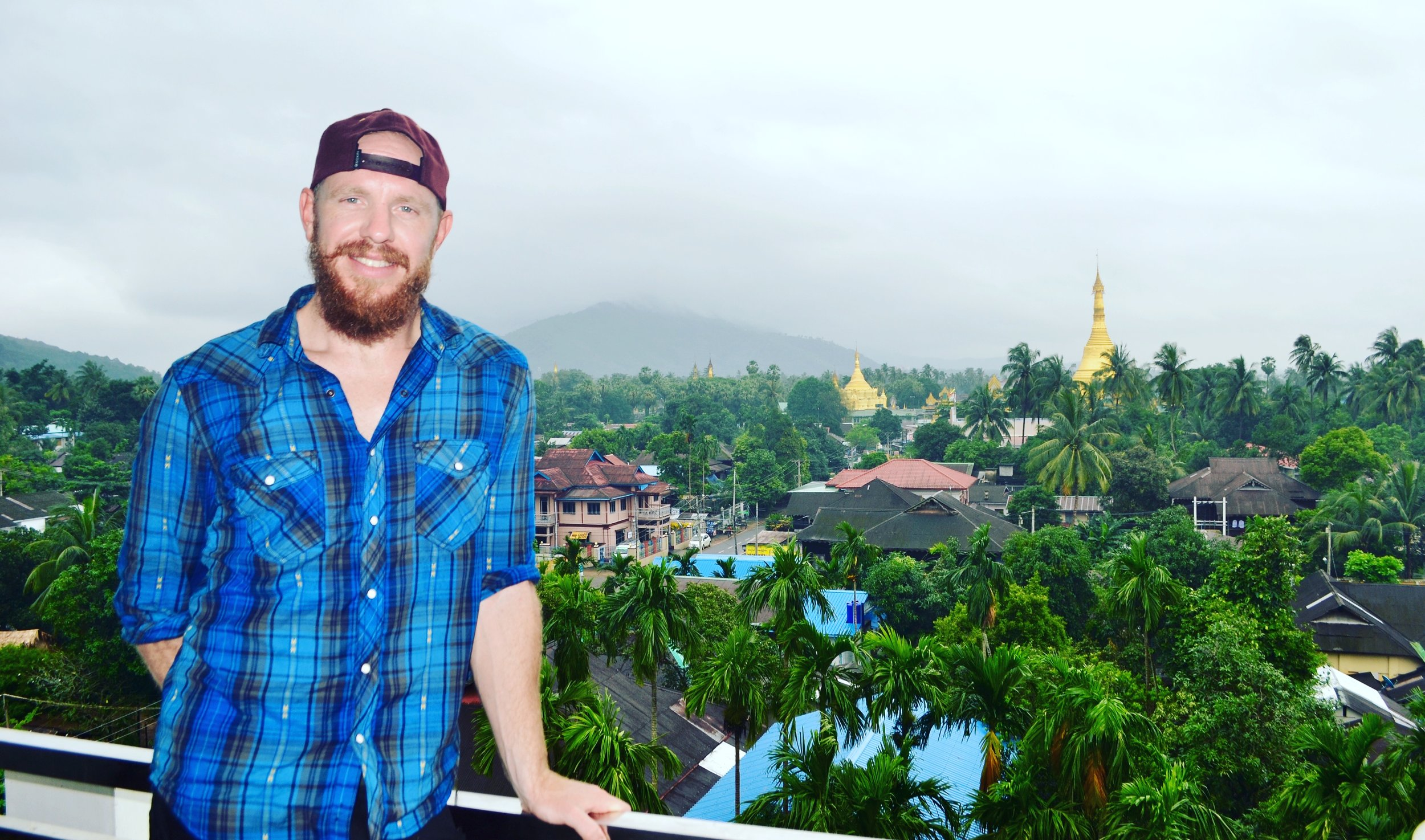 The view from the hotel in the small village of Thaton