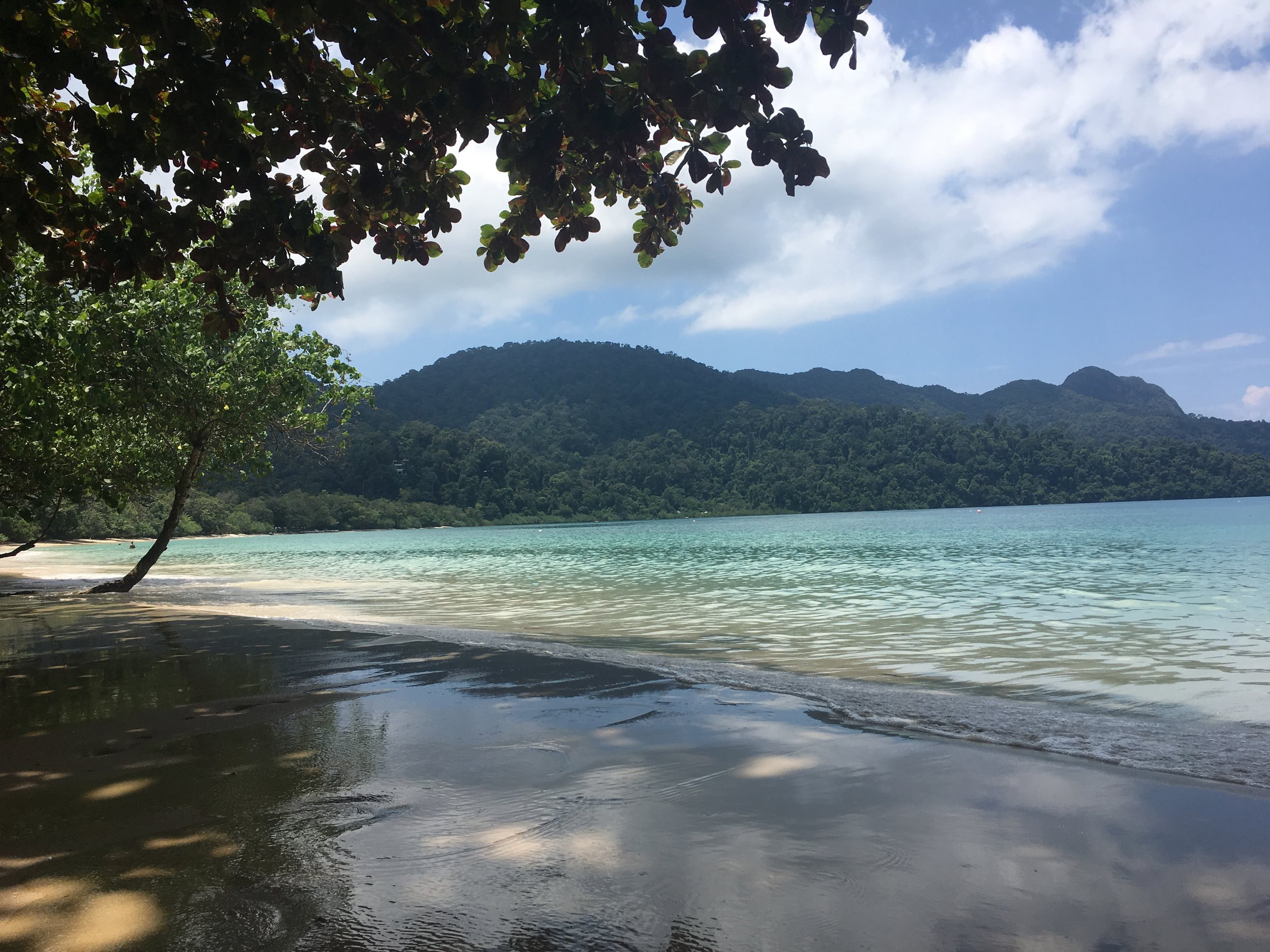The Datai bay with its turquoise waters and white sandy beaches.