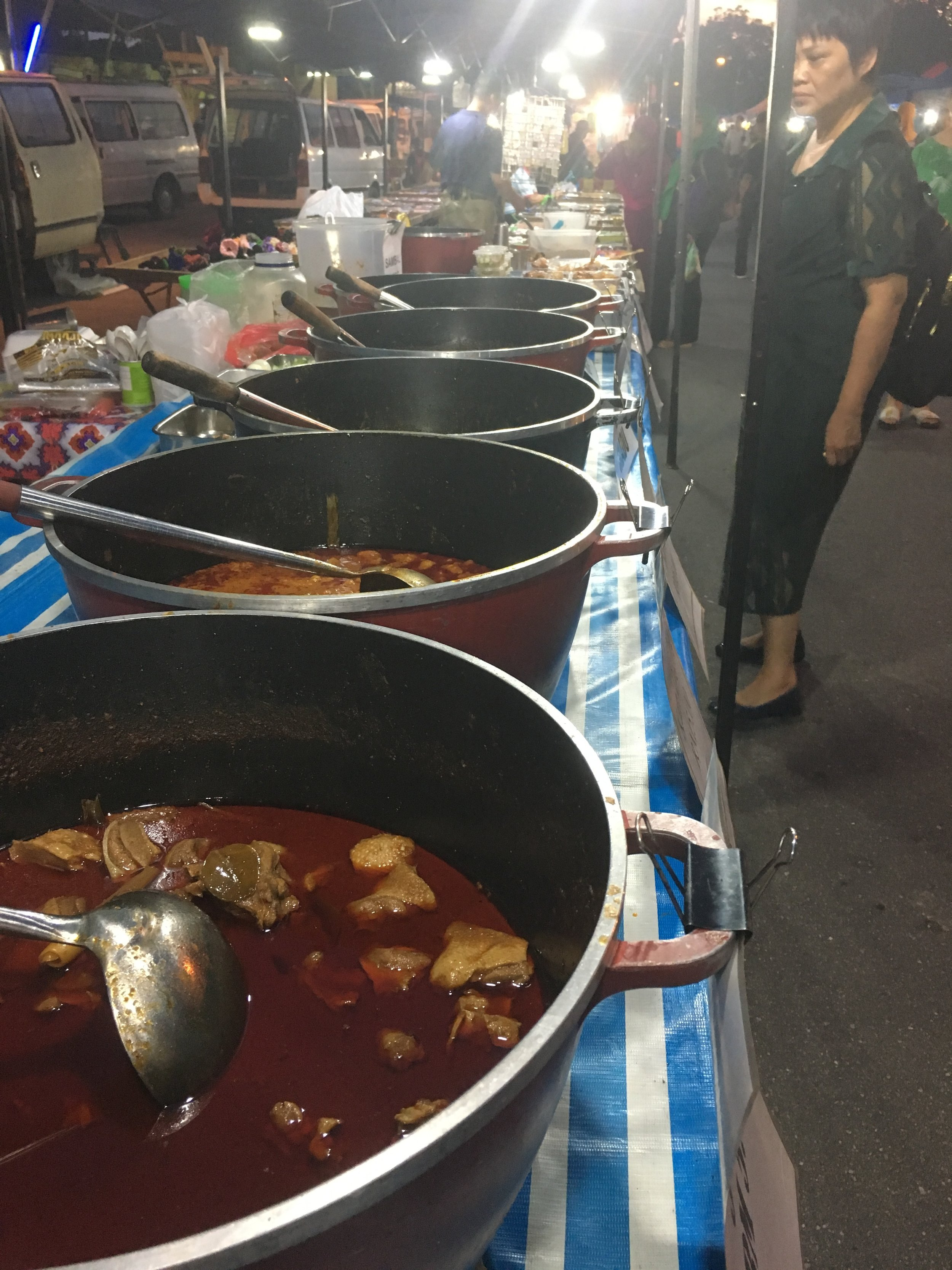 Curries. Sweet and spicy Ayam Madu from this stall was outstanding with a packaged nasi lemak