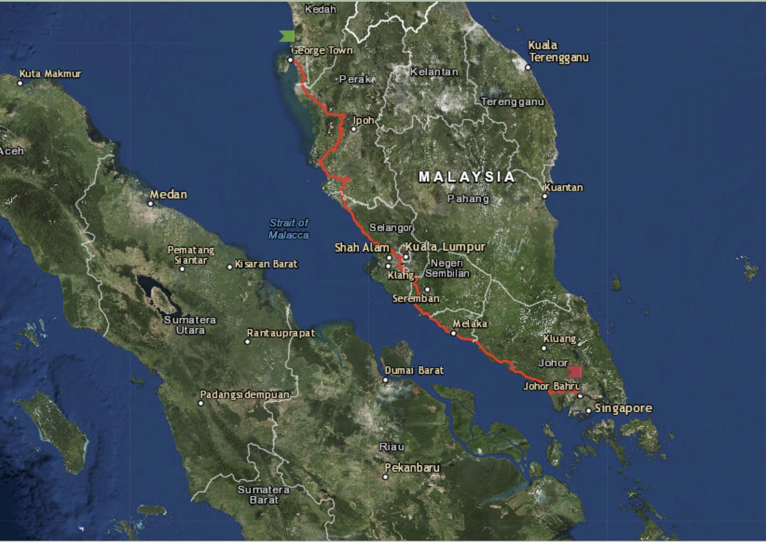 The route in Malaysia from GeorgeTown