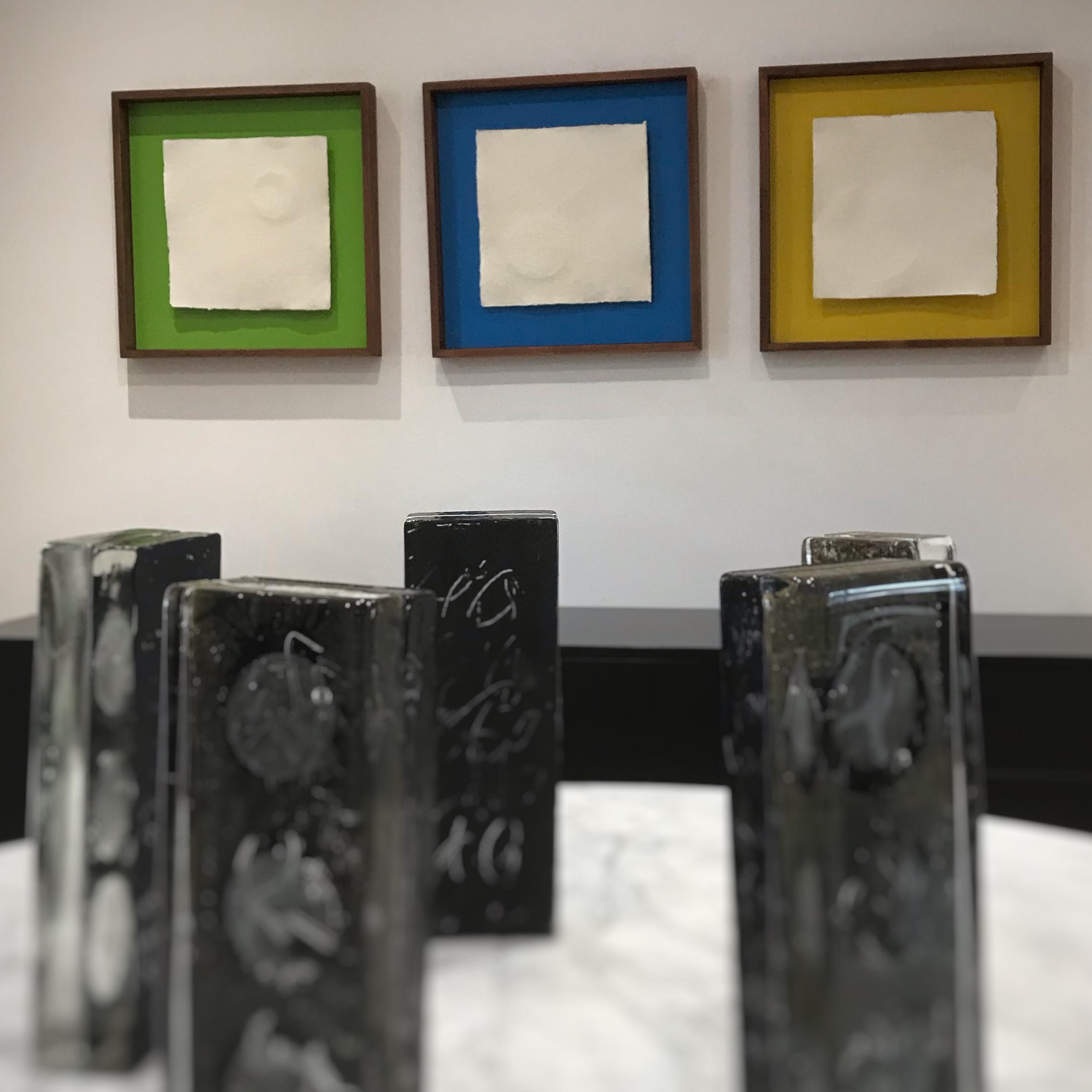 Glass Henge with Zero Space paper sculptures behind