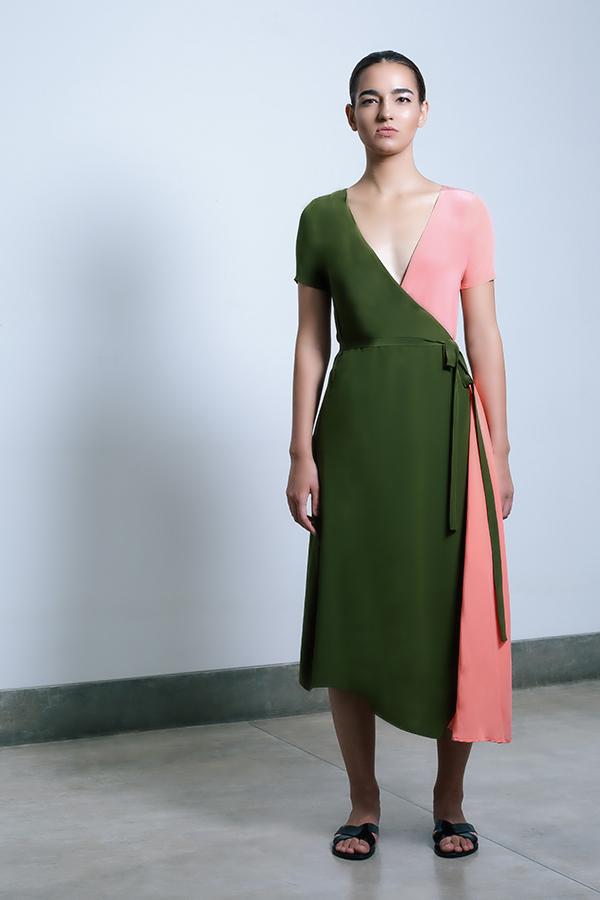 Shaana Wrap dress - Olive_Coral.jpg