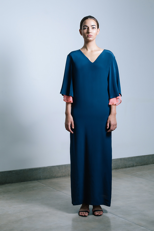 Yaara v-neck gown - midnight blue with coral contrast.jpg