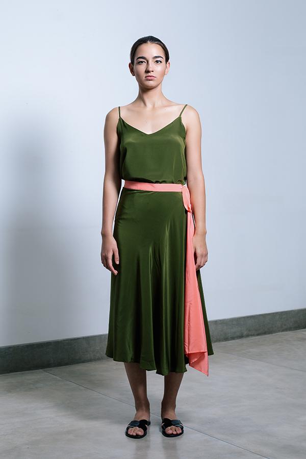 The shaana Pareo Skirt - Olive_Coral.jpg