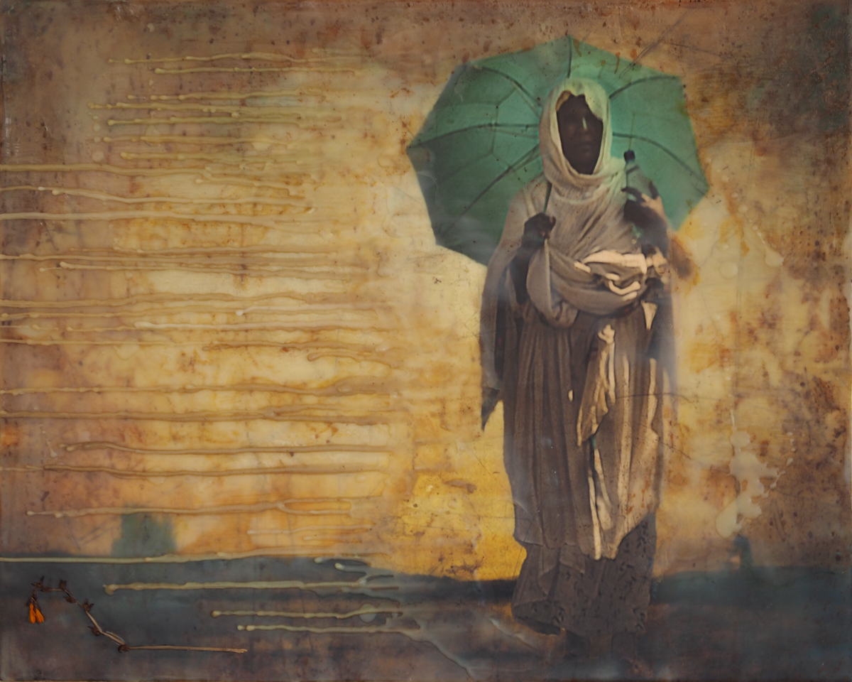 Carol Mell _ Giants in the Earth _ Woman with Turquoise Umbrella.jpg